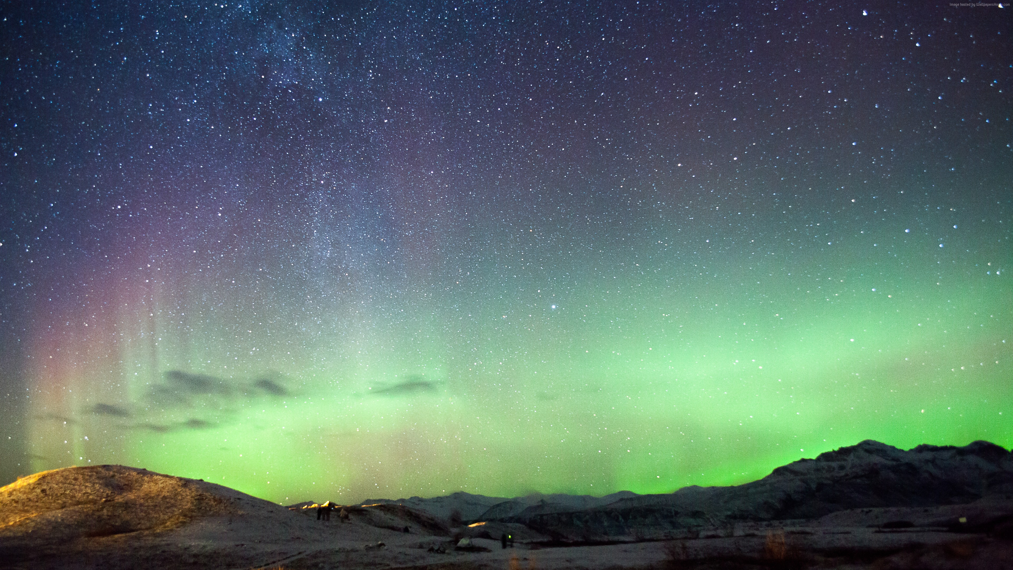 Wallpaper Iceland, 5k, 4k wallpaper, northern lights, mountains, night, stars, Space