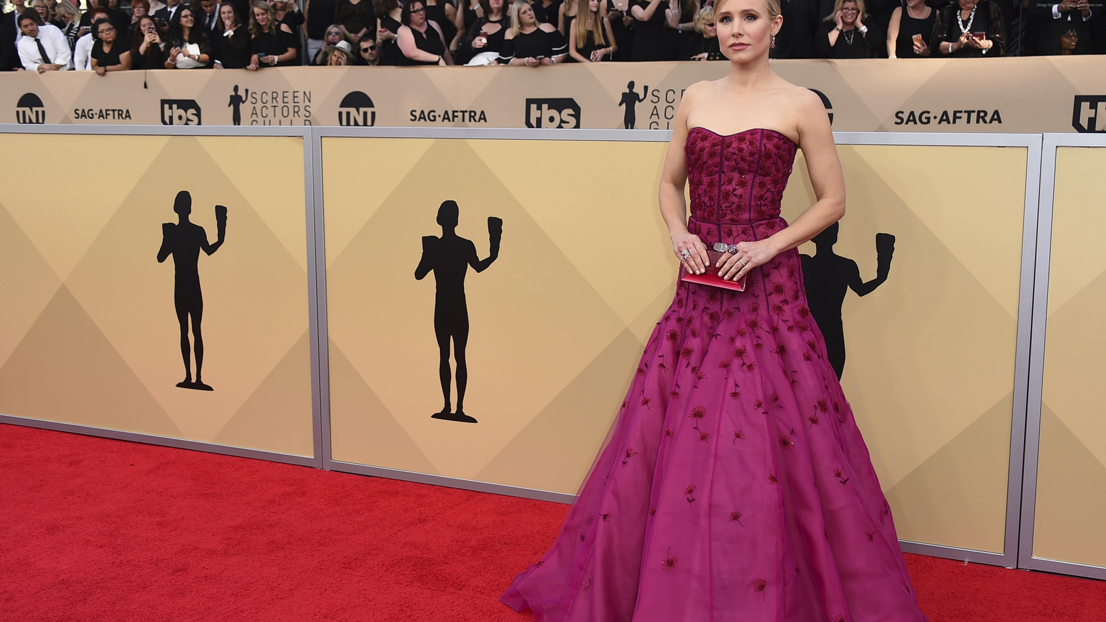 Wallpaper Kristen Bell, dress, Screen Actors Guild Awards 2018, 4k, Girls