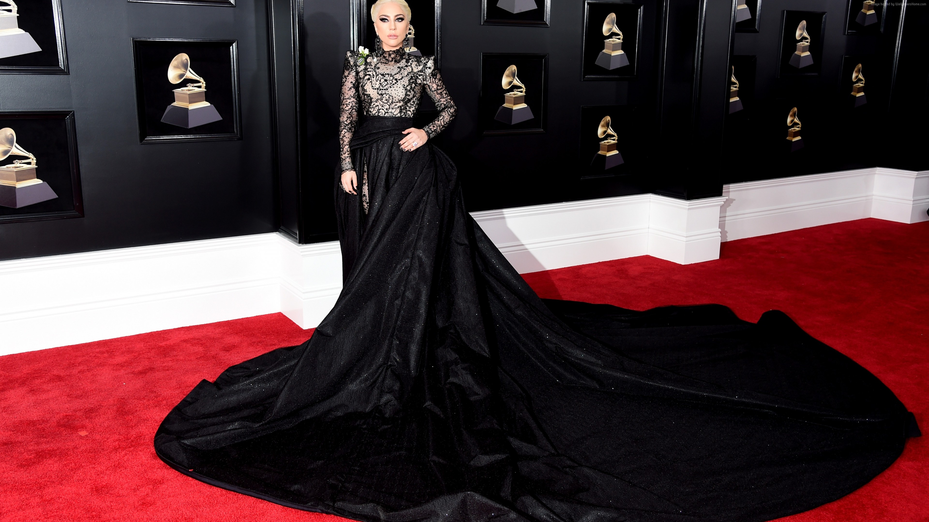 Wallpaper Lady Gaga, dress, Grammy 2018, 4k, Music