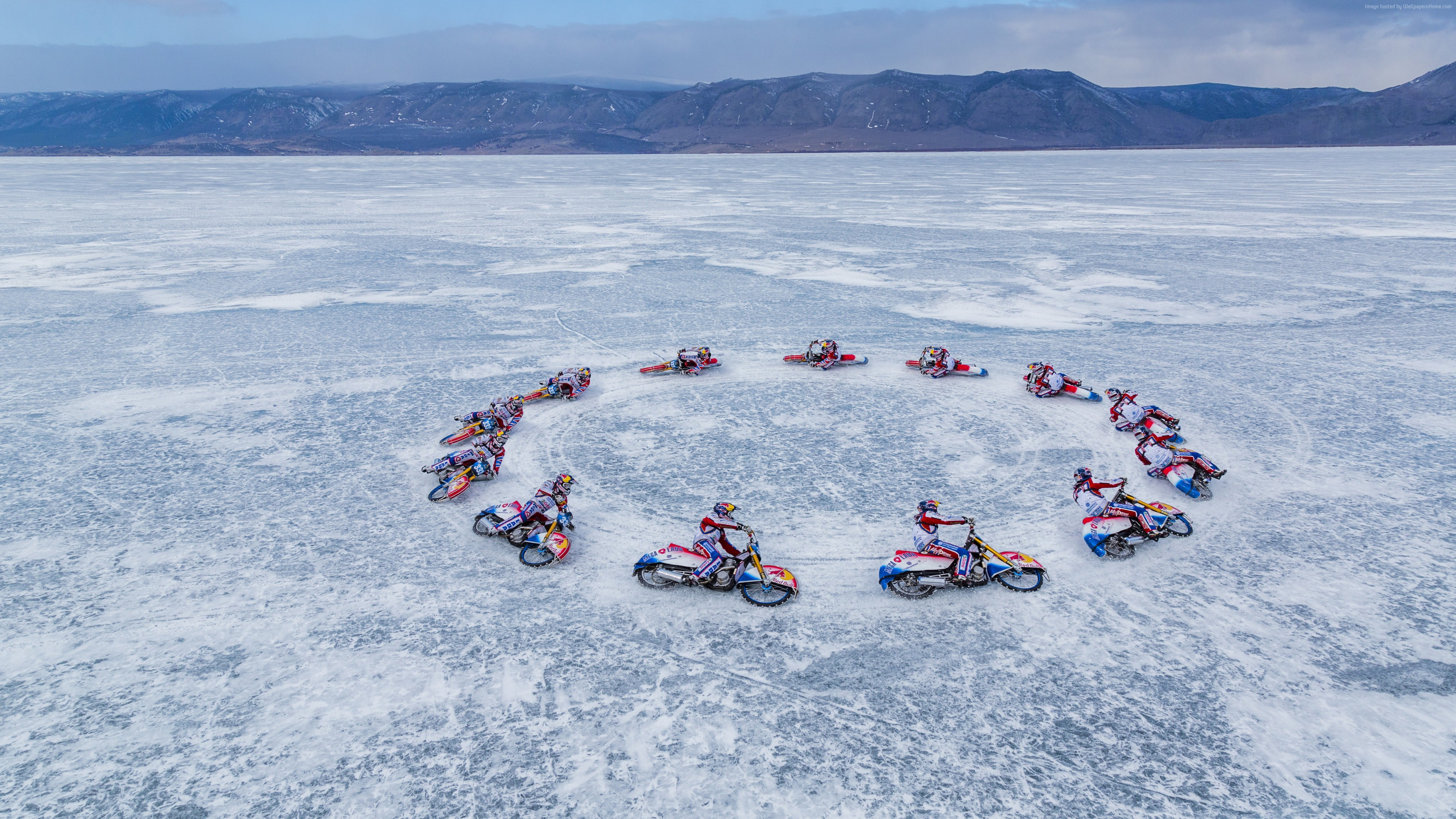 Wallpaper Lake Baikal, ice, motorcyclists, 5k, Sport