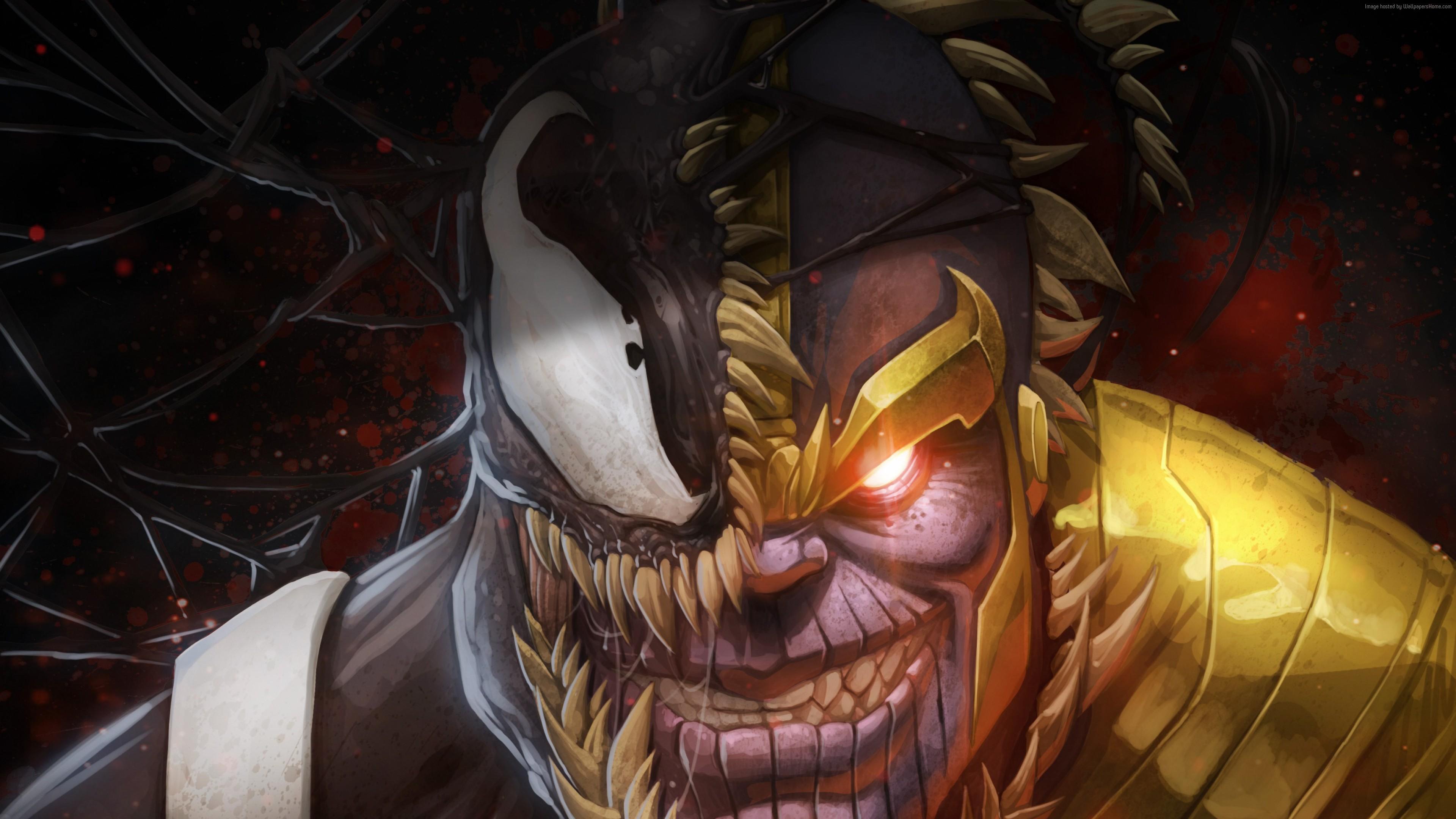 Wallpaper Marvel Comics Thanos Venom 4k Art Wallpaper