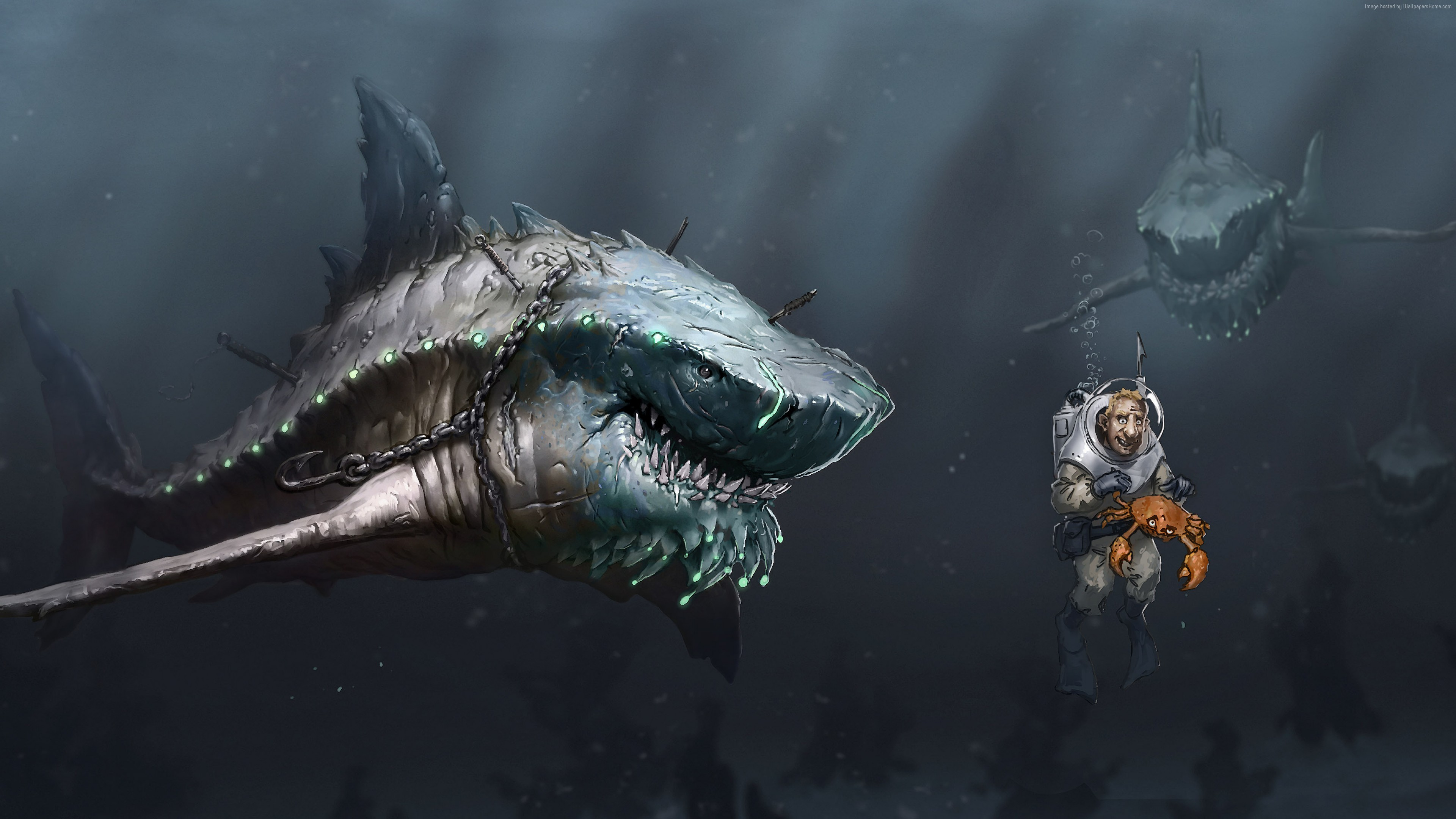 Wallpaper Megalodon, shark, art, Animals