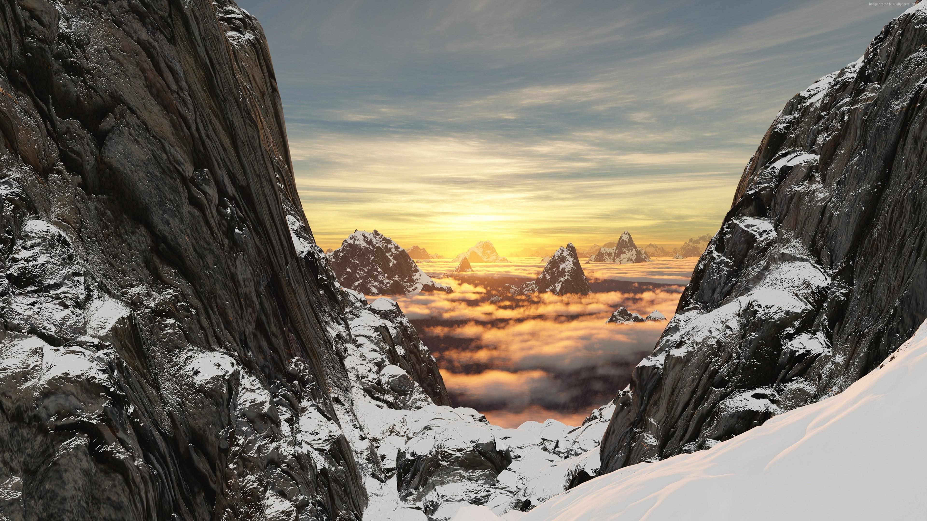 Wallpaper Mountain Snow Rock High Altitude 4k Nature Wallpaper Download High Resolution 4k Wallpaper