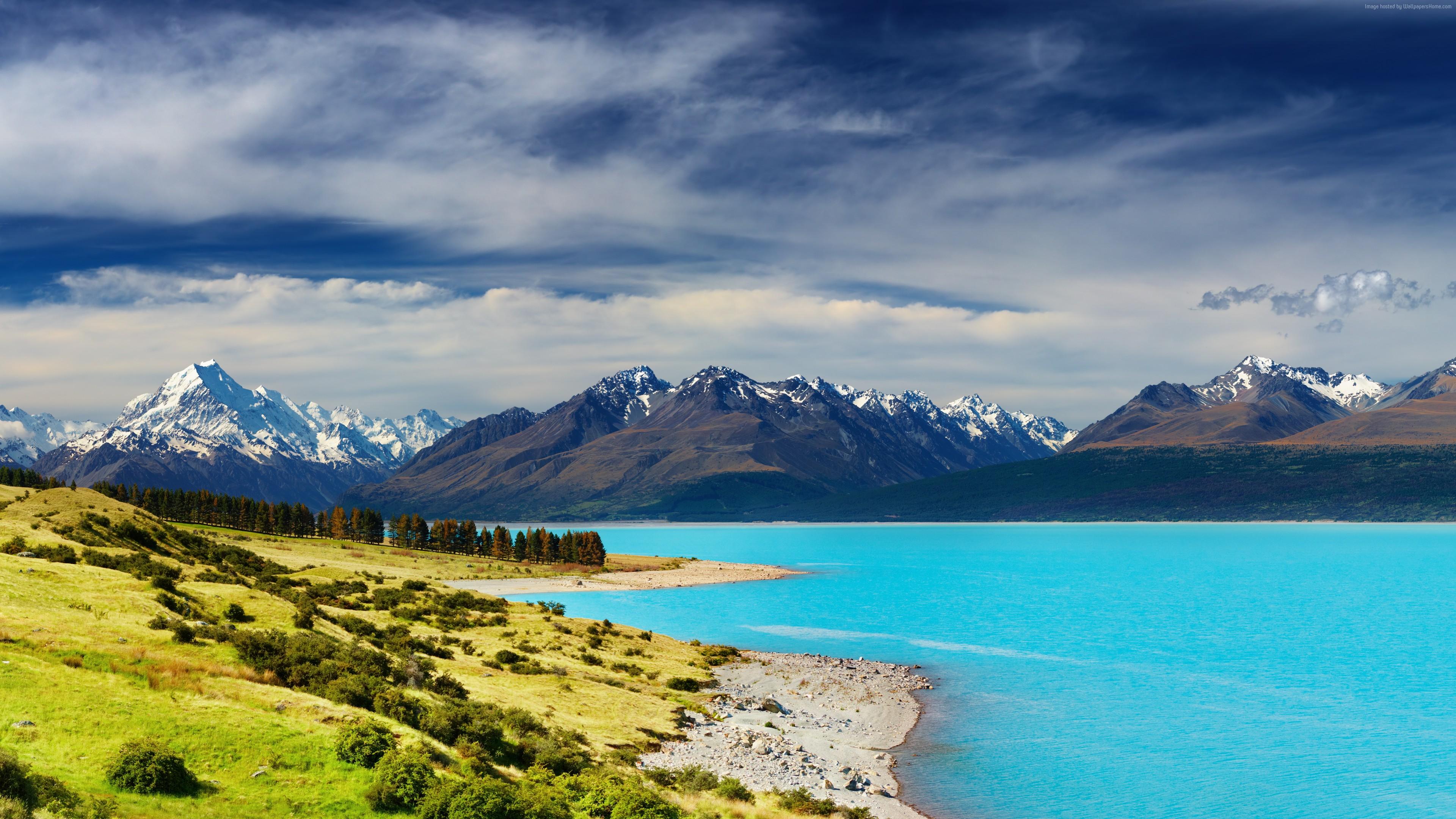 Wallpaper New Zealand River Mountains 5k Travel