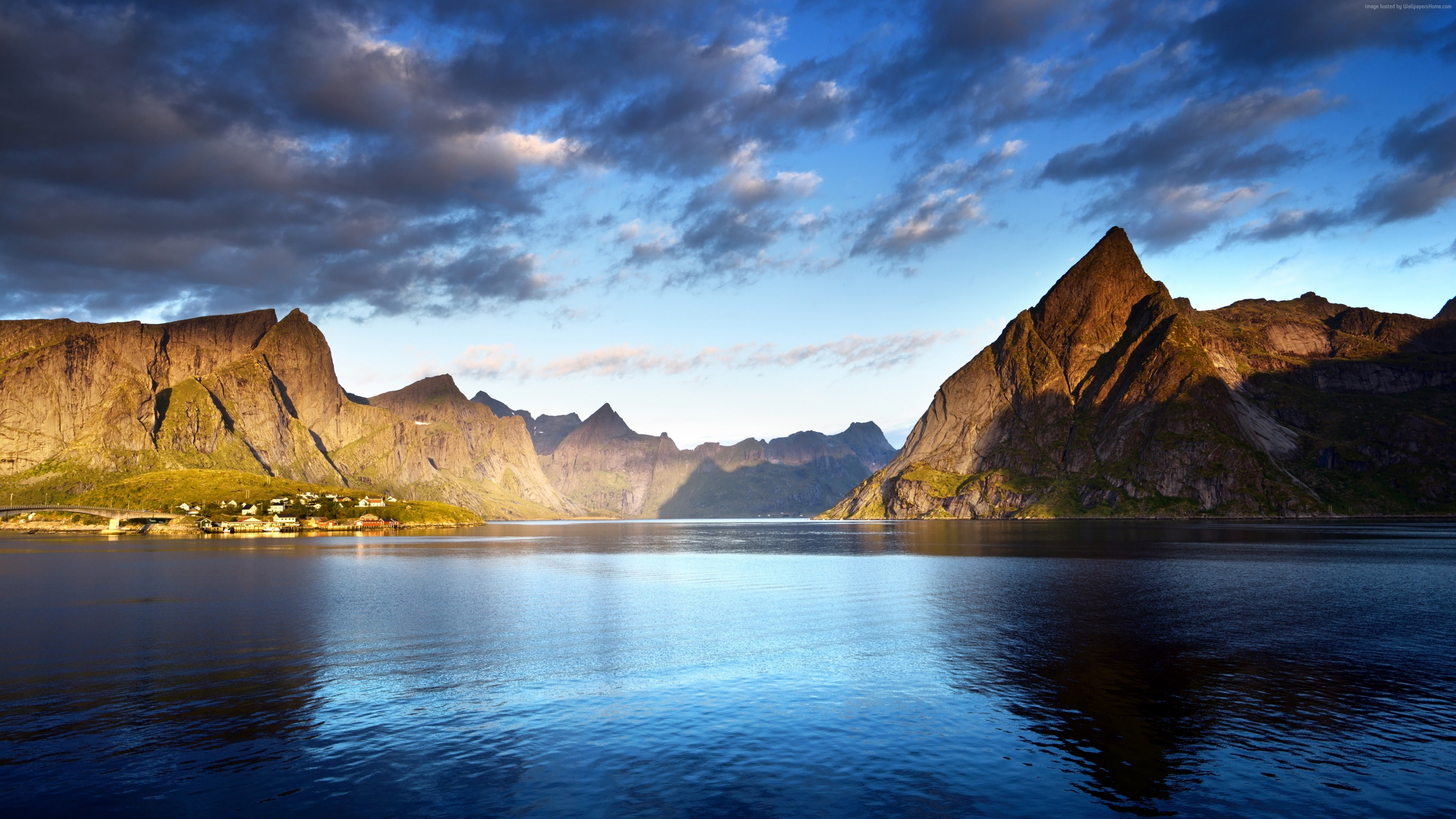 Wallpaper Norway, Lofoten islands, Europe, Mountains, sea, clouds, 5k, Nature