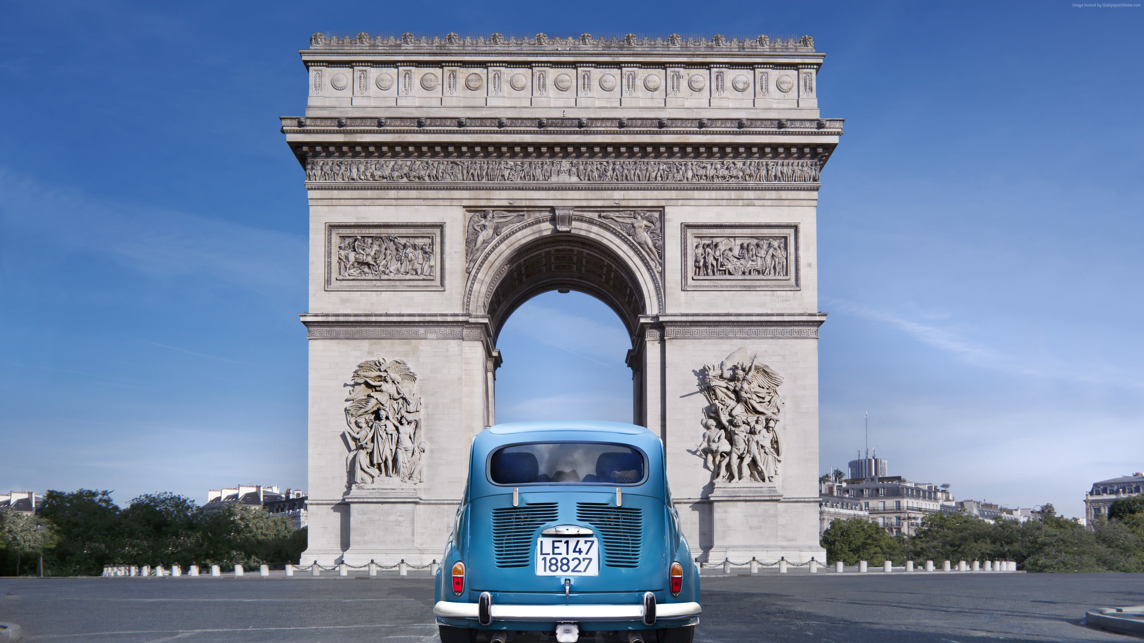 Wallpaper Paris, France, Arc de Triomphe, monument, travel, tourism, car, Architecture