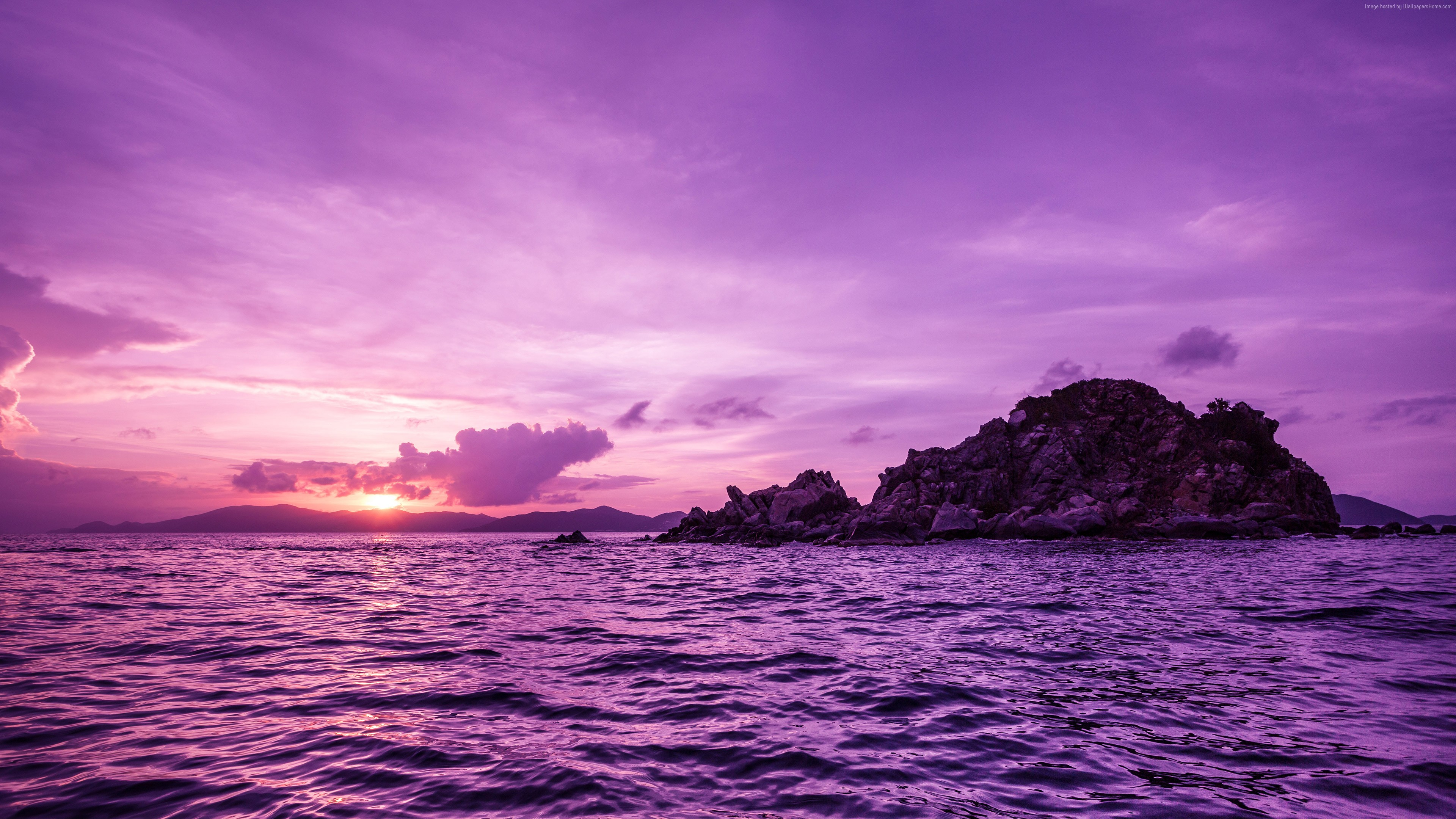 Wallpaper Pelican island, sunset, purple, Travel