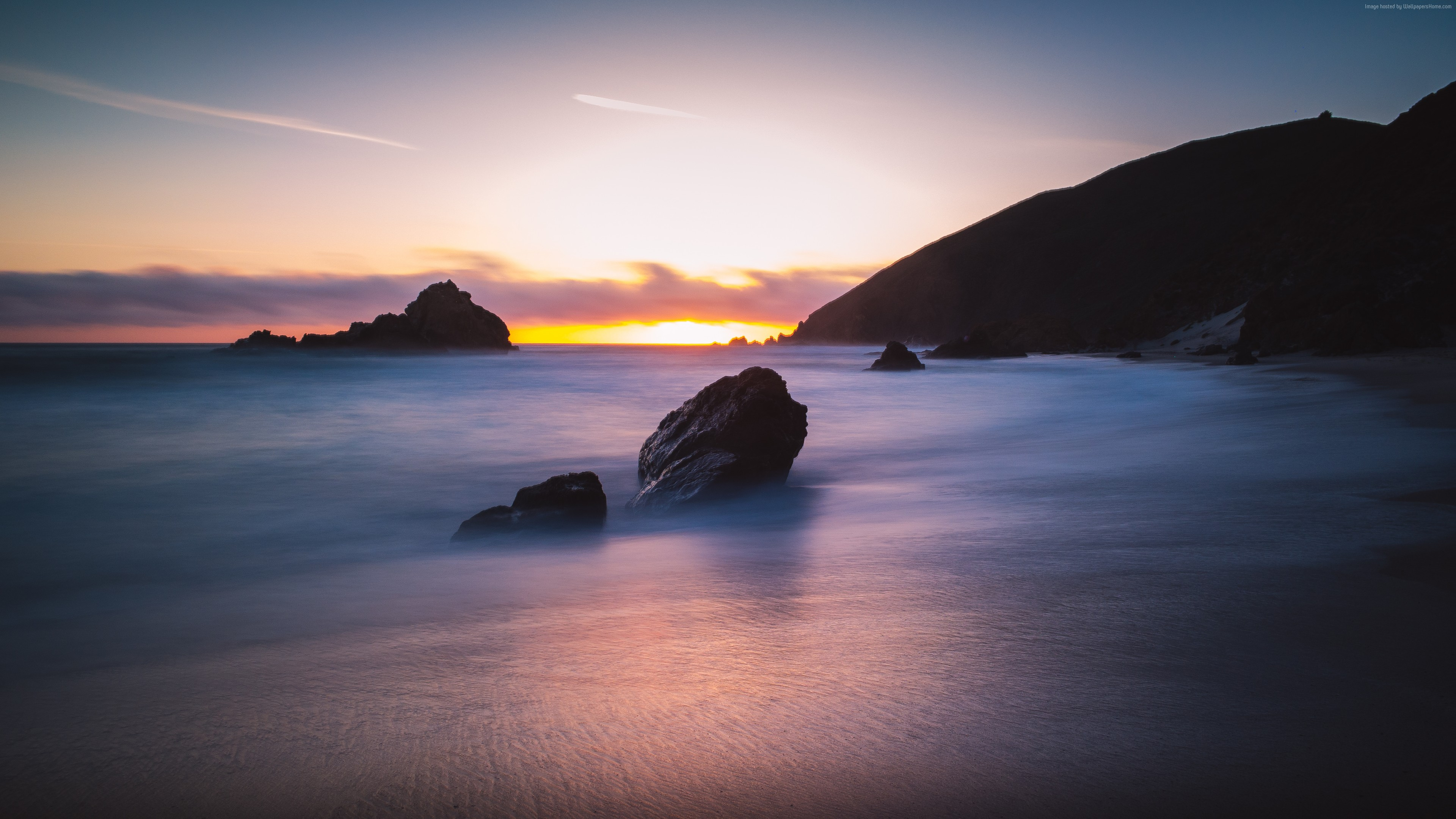 Wallpaper Pfeiffer Beach, 5k, 4k wallpaper, Big Sur, California, USA, Best Beaches in the World, travel, tourism, Sunset, Travel