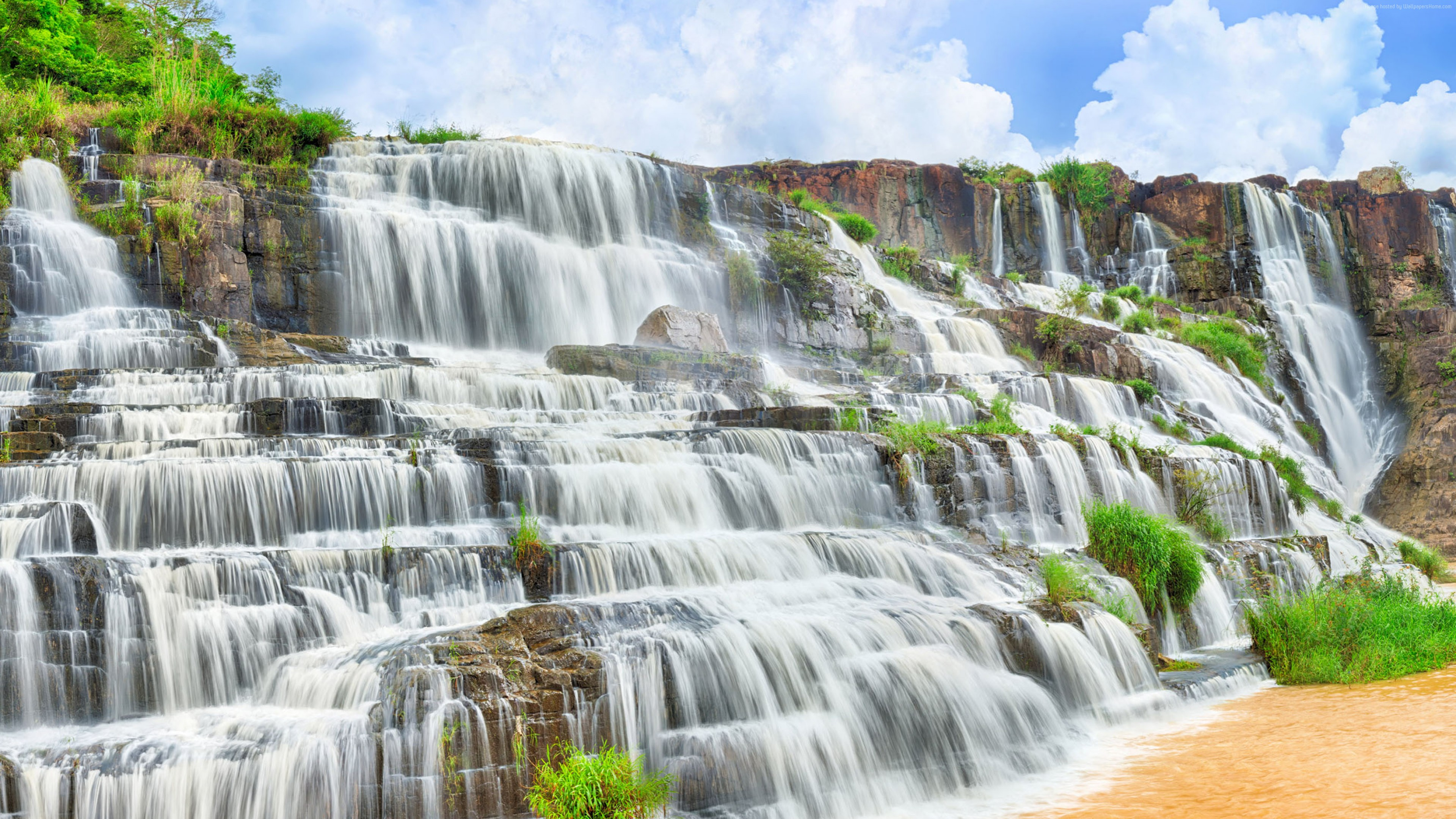 Wallpaper Pongour Waterfall, 4k, HD wallpaper, falls, travel, Pongour, waterfall, Dalat, Vietnam, mountain, river, Travel
