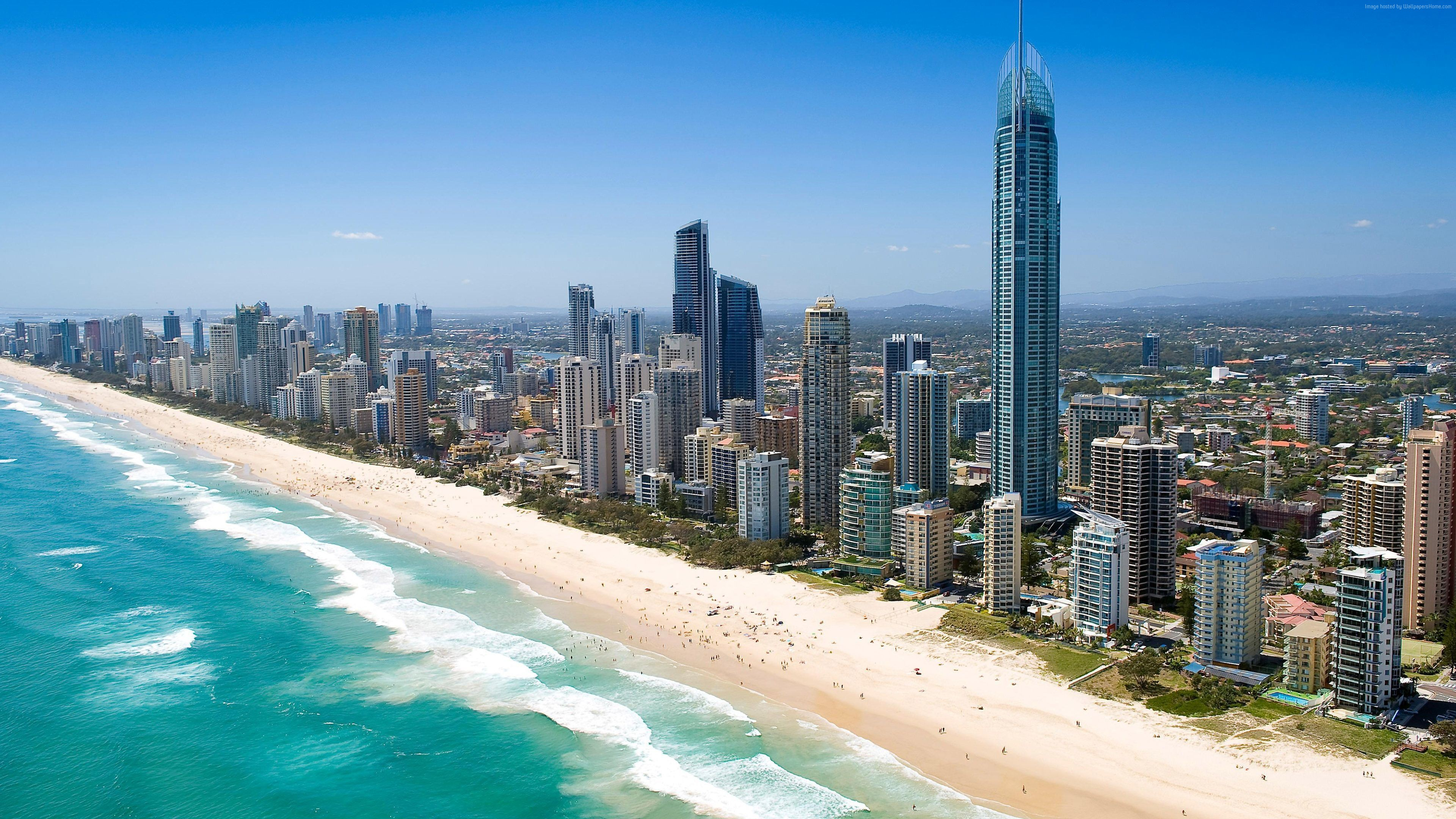 Wallpaper Queensland, 5k, 4k wallpaper, Australia, Pacific ocean, shore, Best Beaches in the World, skyscrapers, Travel