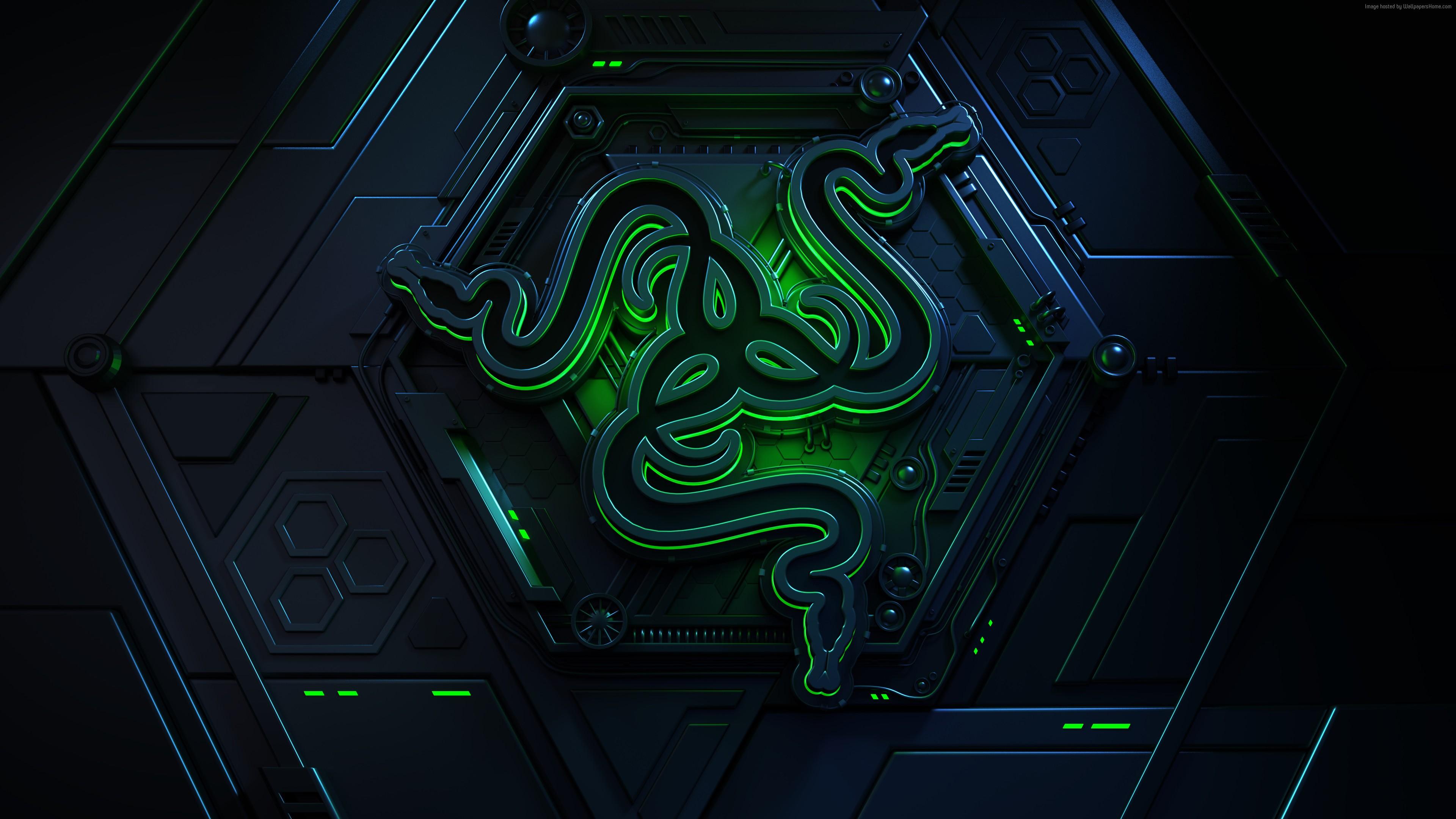Wallpaper Razer, logo, 4K, Hi-Tech