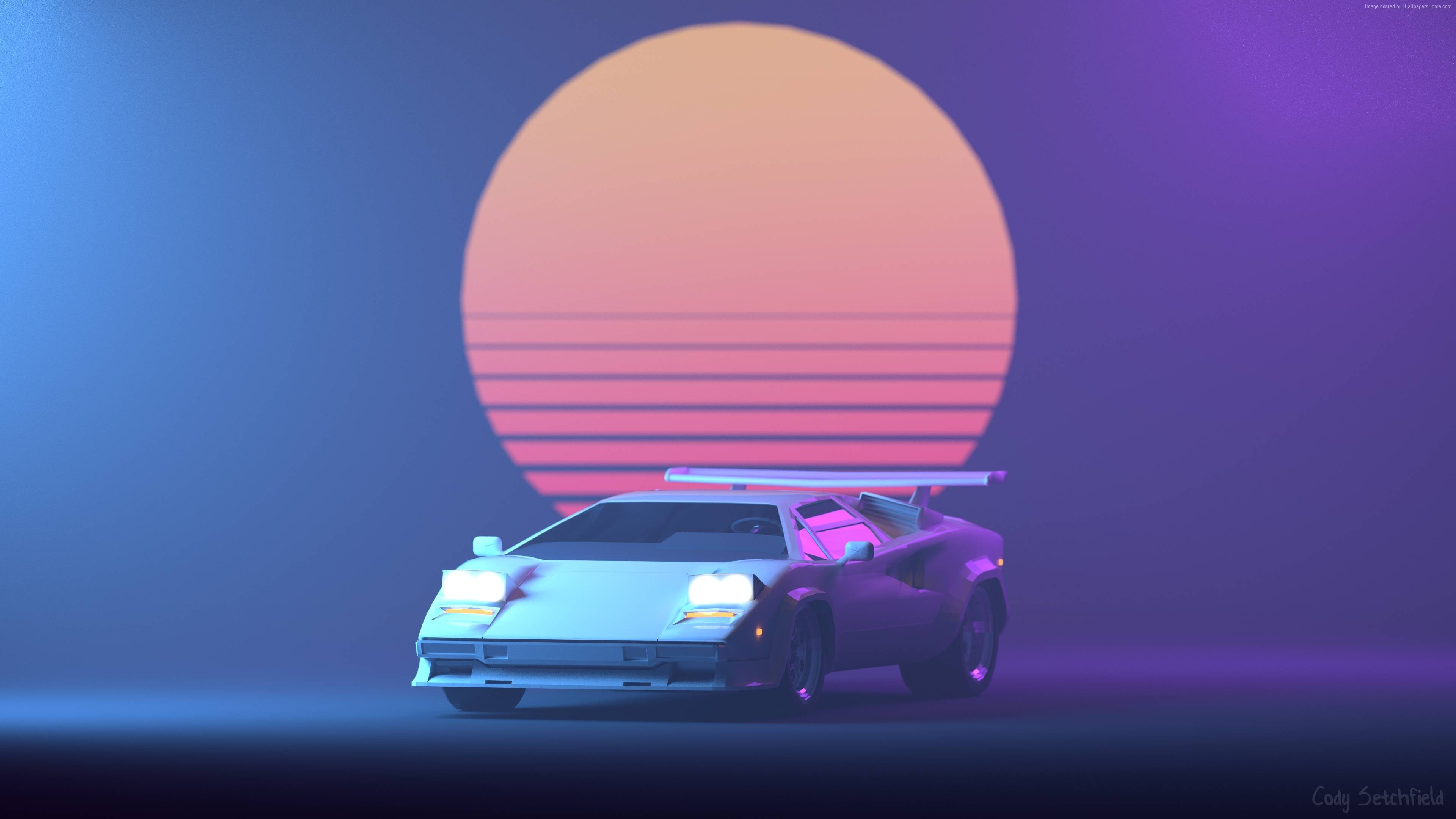Wallpaper Retrowave, Purple, Lamborghini Countach, 4K, Art