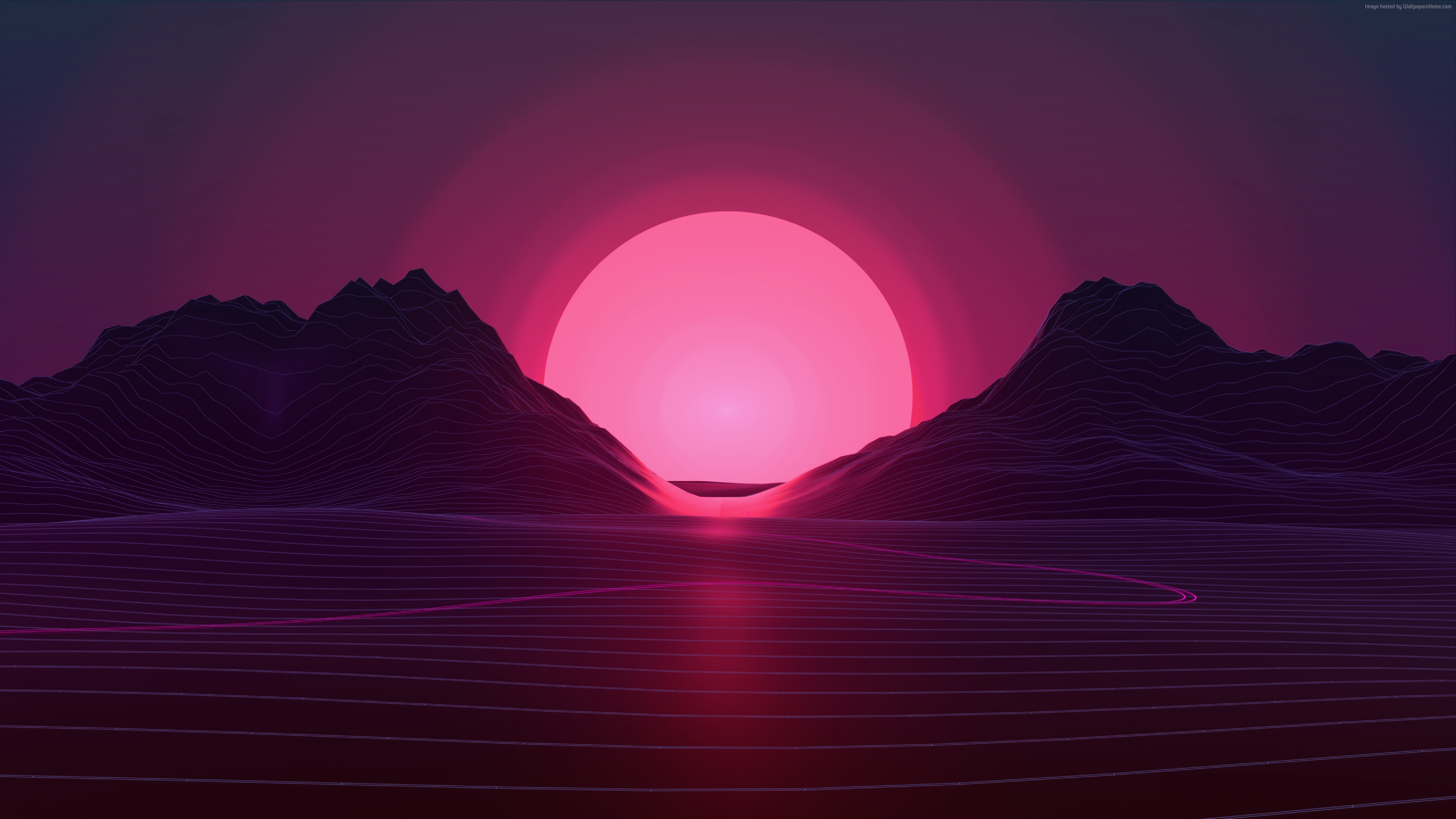 Wallpaper Retrowave, lines, sunset, 4K, Art