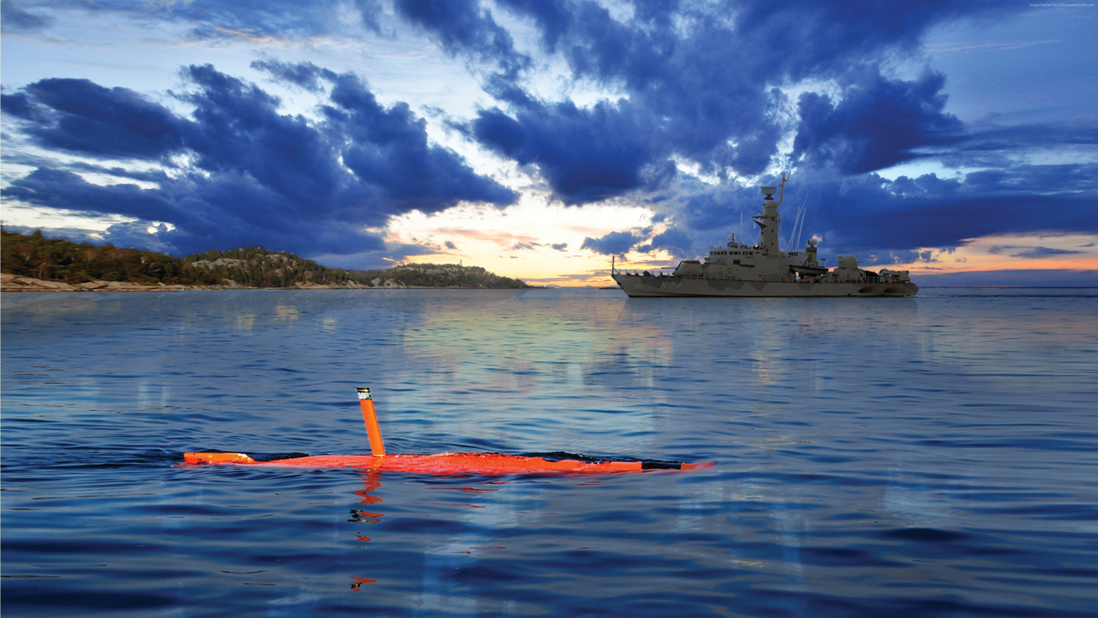 Wallpaper Saab AUV62-AT, drone, submarine, Unmanned Warrior 2016, Swedish Navy, Swedish Army, Military