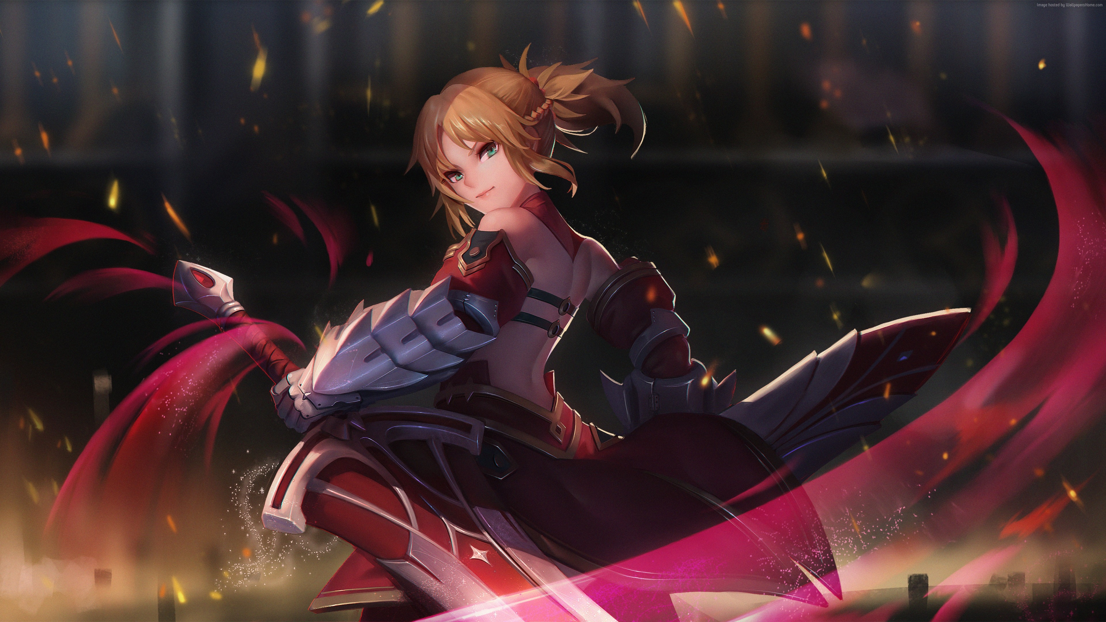 Wallpaper Saber of Red, girl, 4K, Art