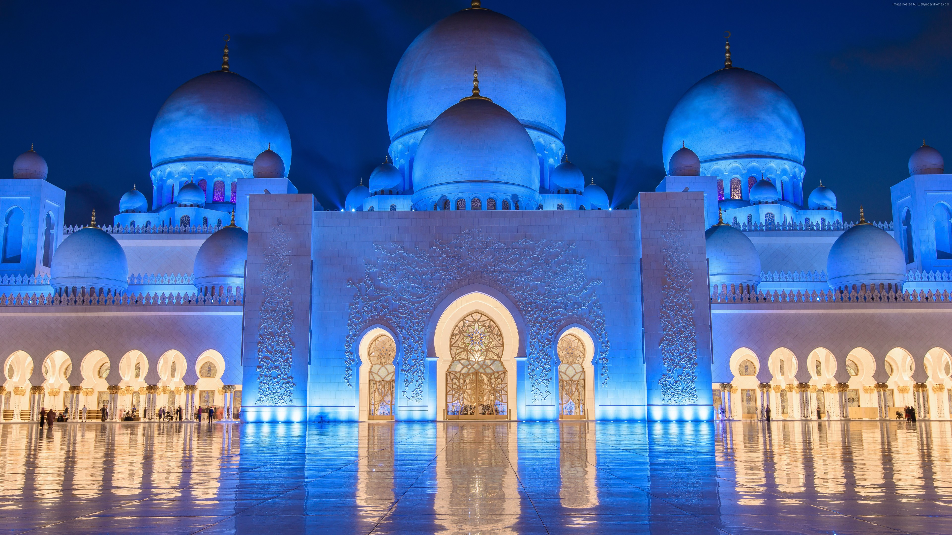 Wallpaper Sheikh Zayed Mosque, Abu Dhabi, night, 8k, Travel