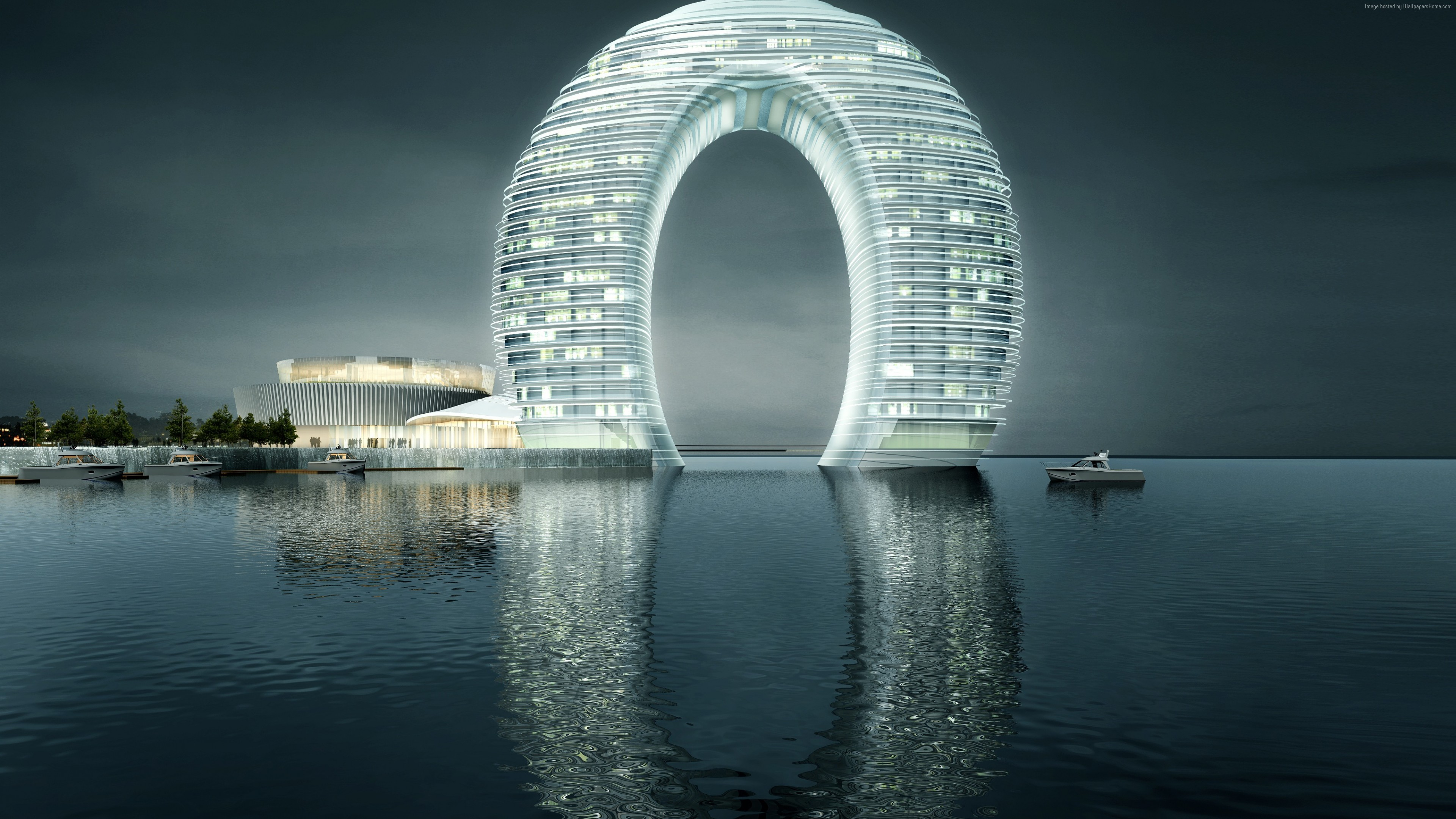 Wallpaper Sheraton Huzhou Hot Spring Resort, China, Best hotels, tourism, travel, resort, booking, vacation, Architecture