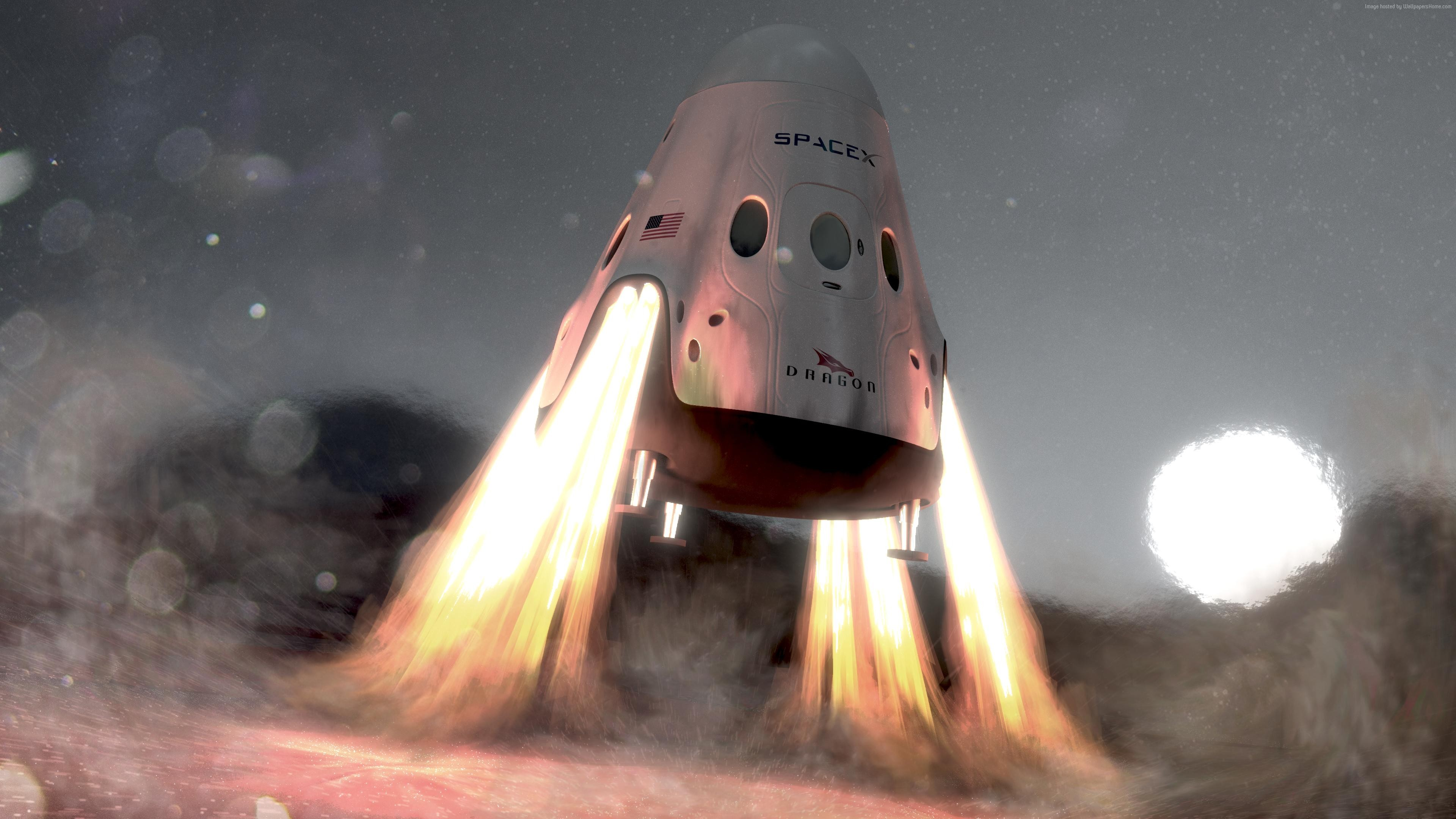 Wallpaper SpaceX, ship, red dragon, mars, Space