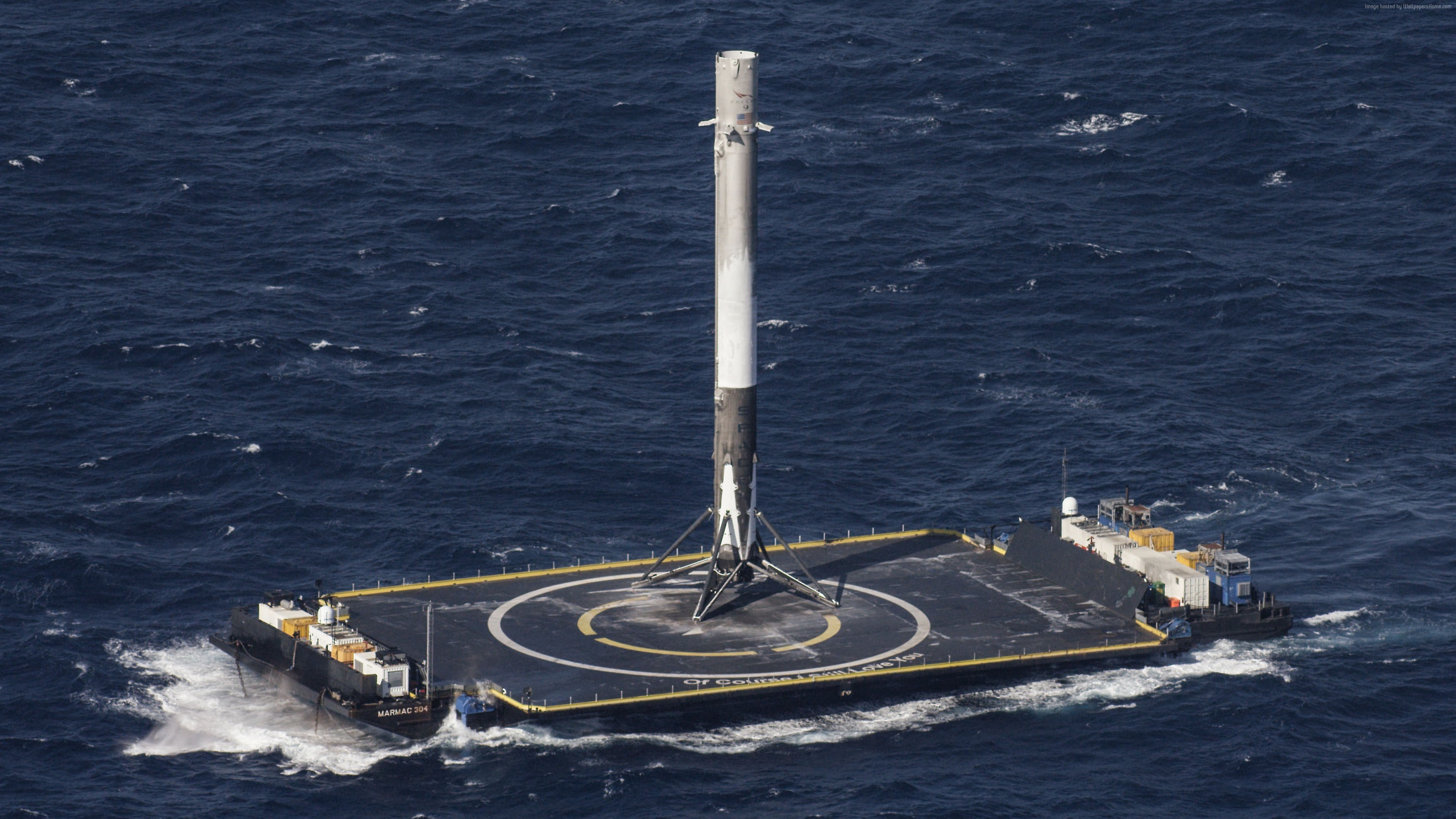 Wallpaper SpaceX, ship, sea, platform, rocket, Space