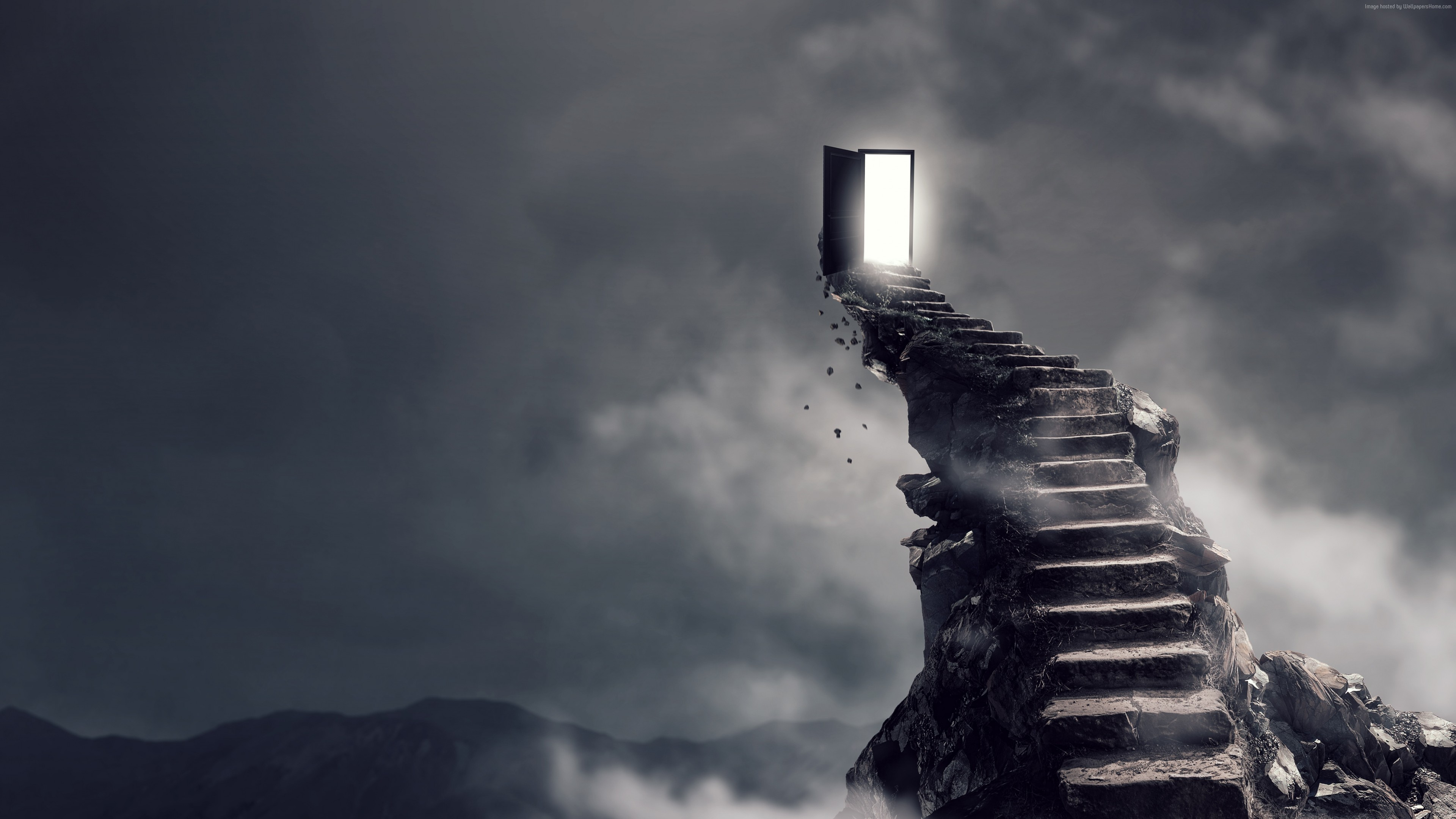Wallpaper Stairs, surrealism, dark, 4K, Art