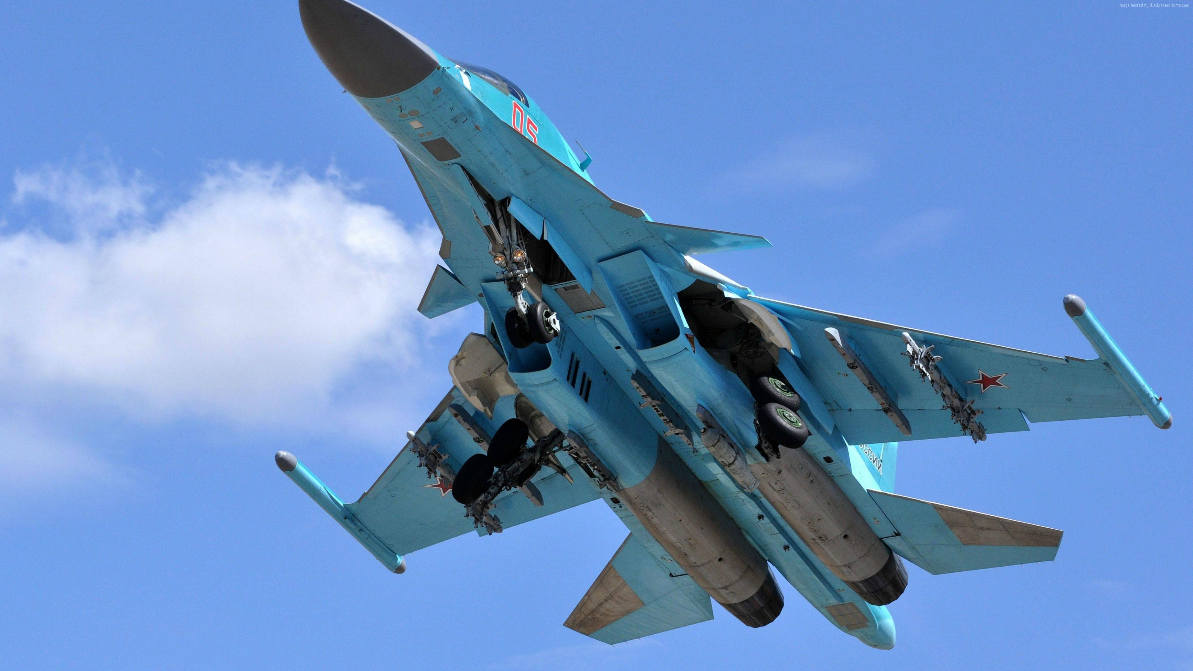 Wallpaper Sukhoi Su-34, fighter aircraft, Russian army, air force, Russia, Military