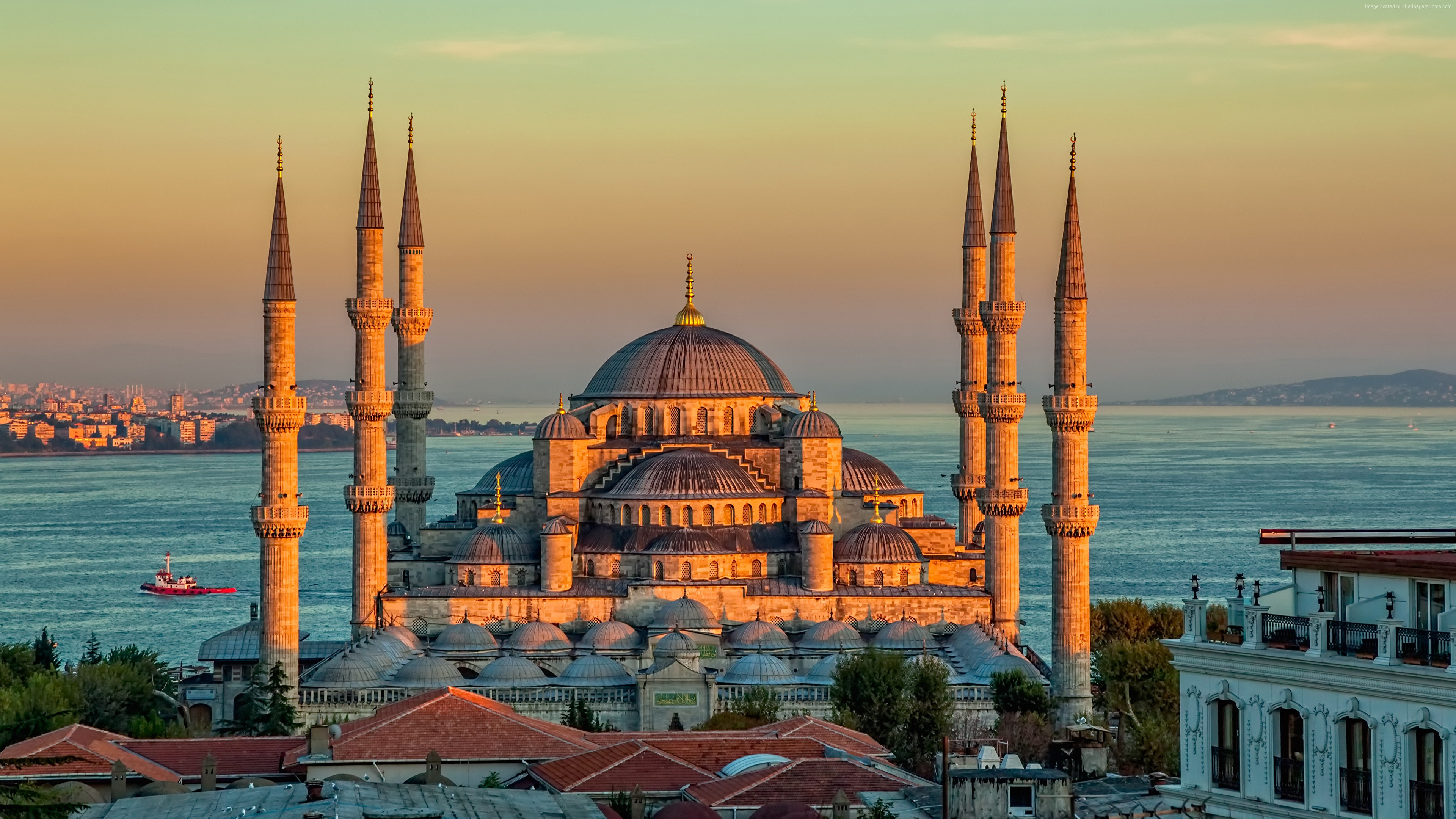 Wallpaper Sultan Ahmed Mosque, Turkey, Istanbul, sunrise, 4k, Travel