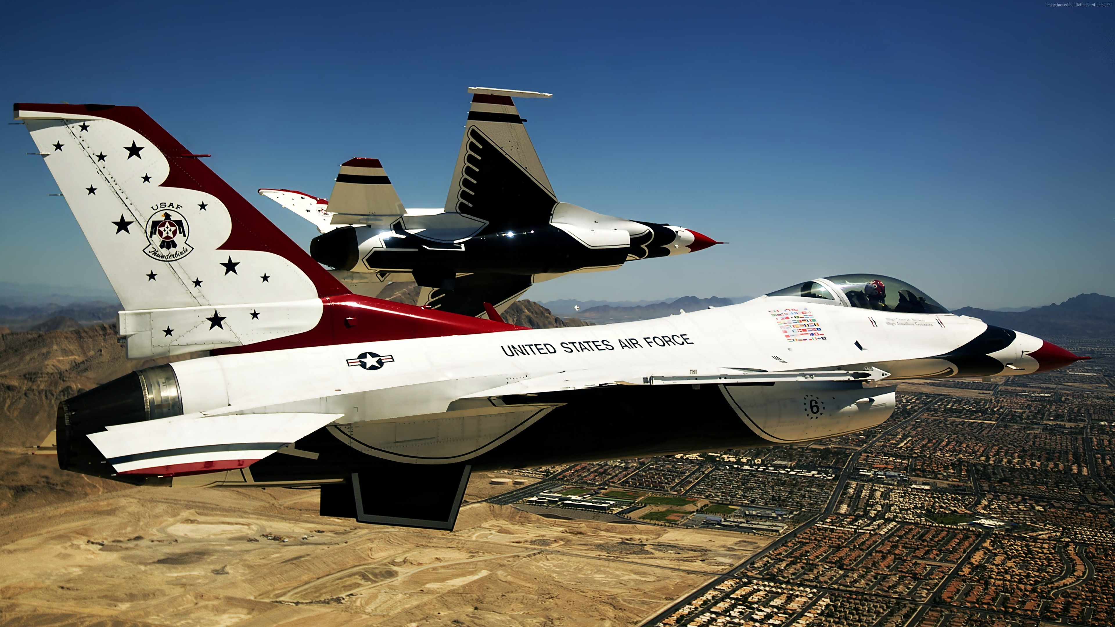 Wallpaper Thunderbird f-16, fighter aircraft, U.S. Airforce, Military