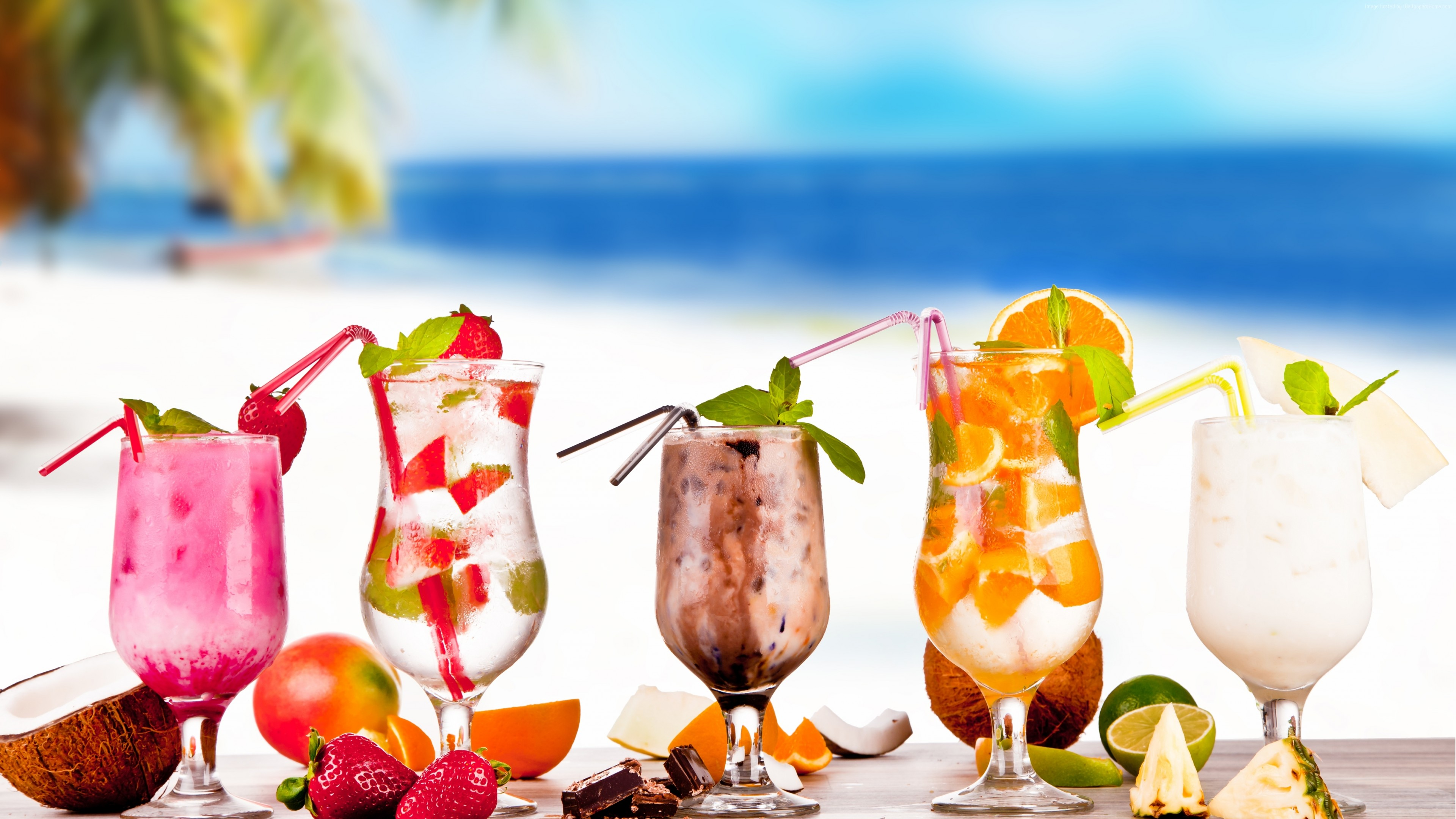 Wallpaper Tropical Cocktail, strawberry, coconut, chocolate, pineapple, lime, orange, Food