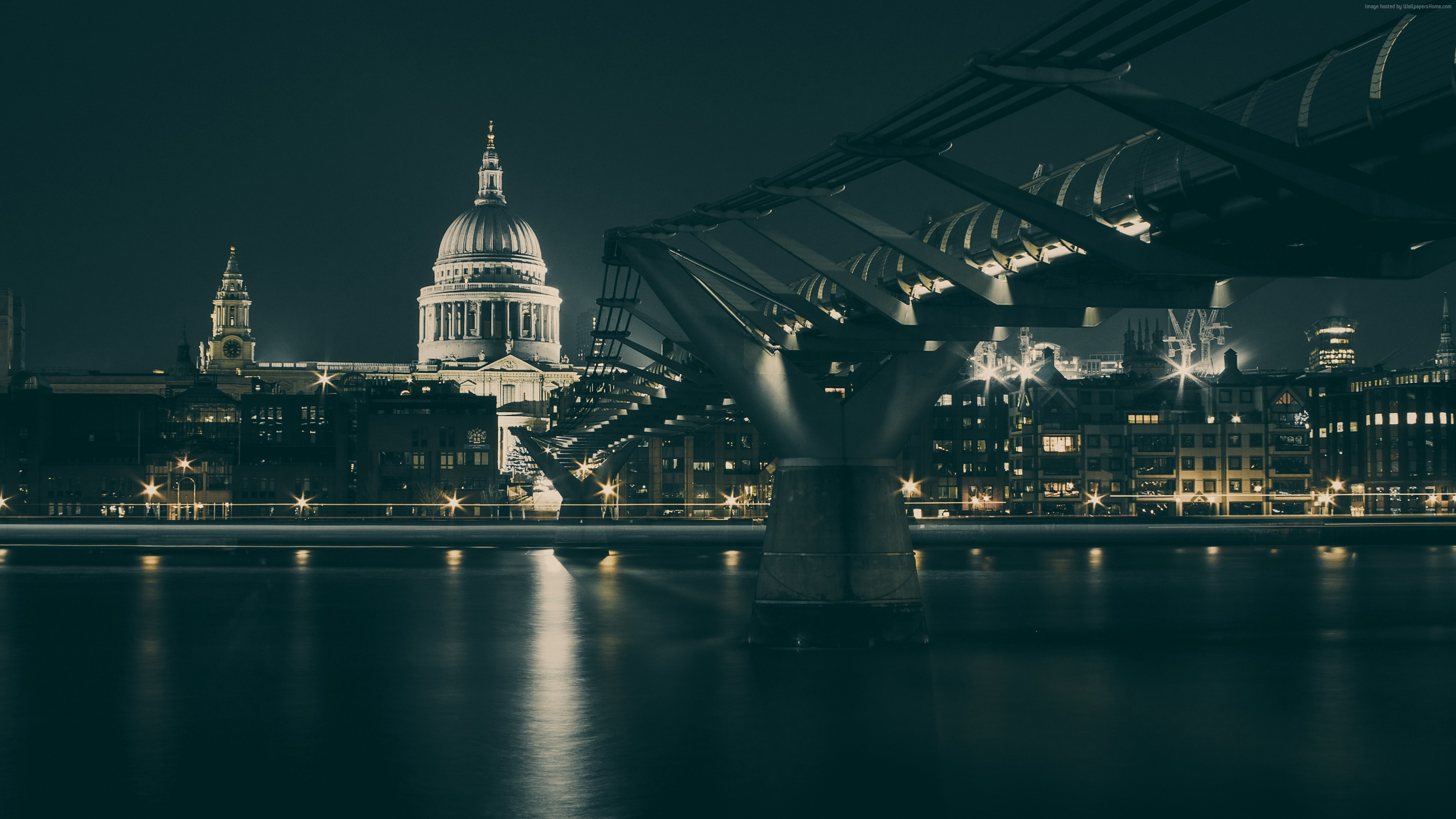 Wallpaper UK, bridge, night, river, Architecture