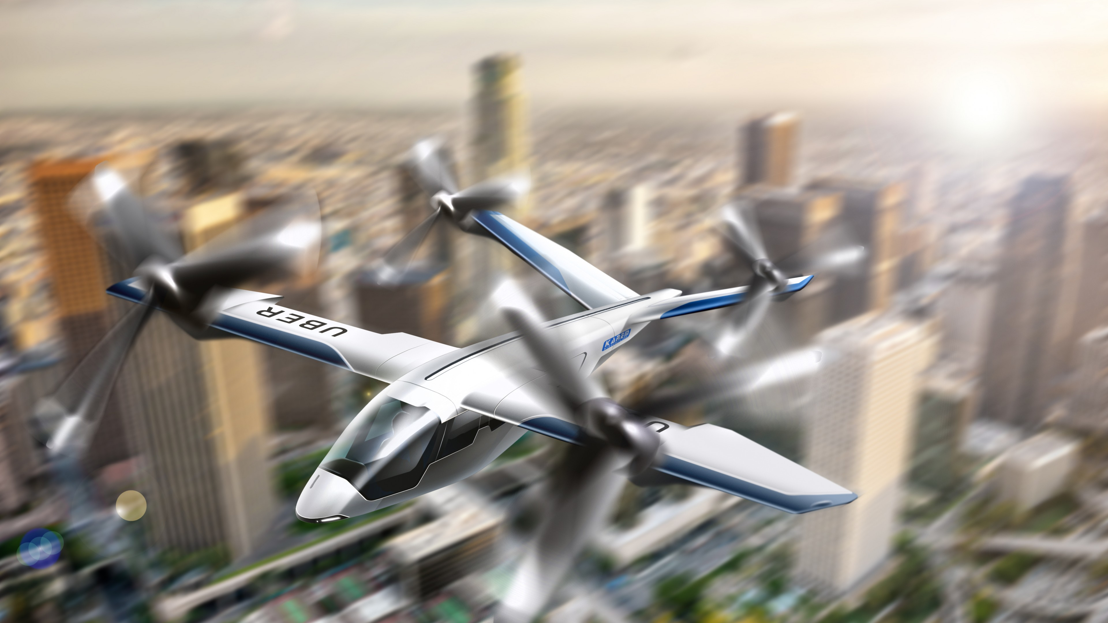 Wallpaper Uber flying taxi, Uber Elevate Summit, 4K, Hi-Tech