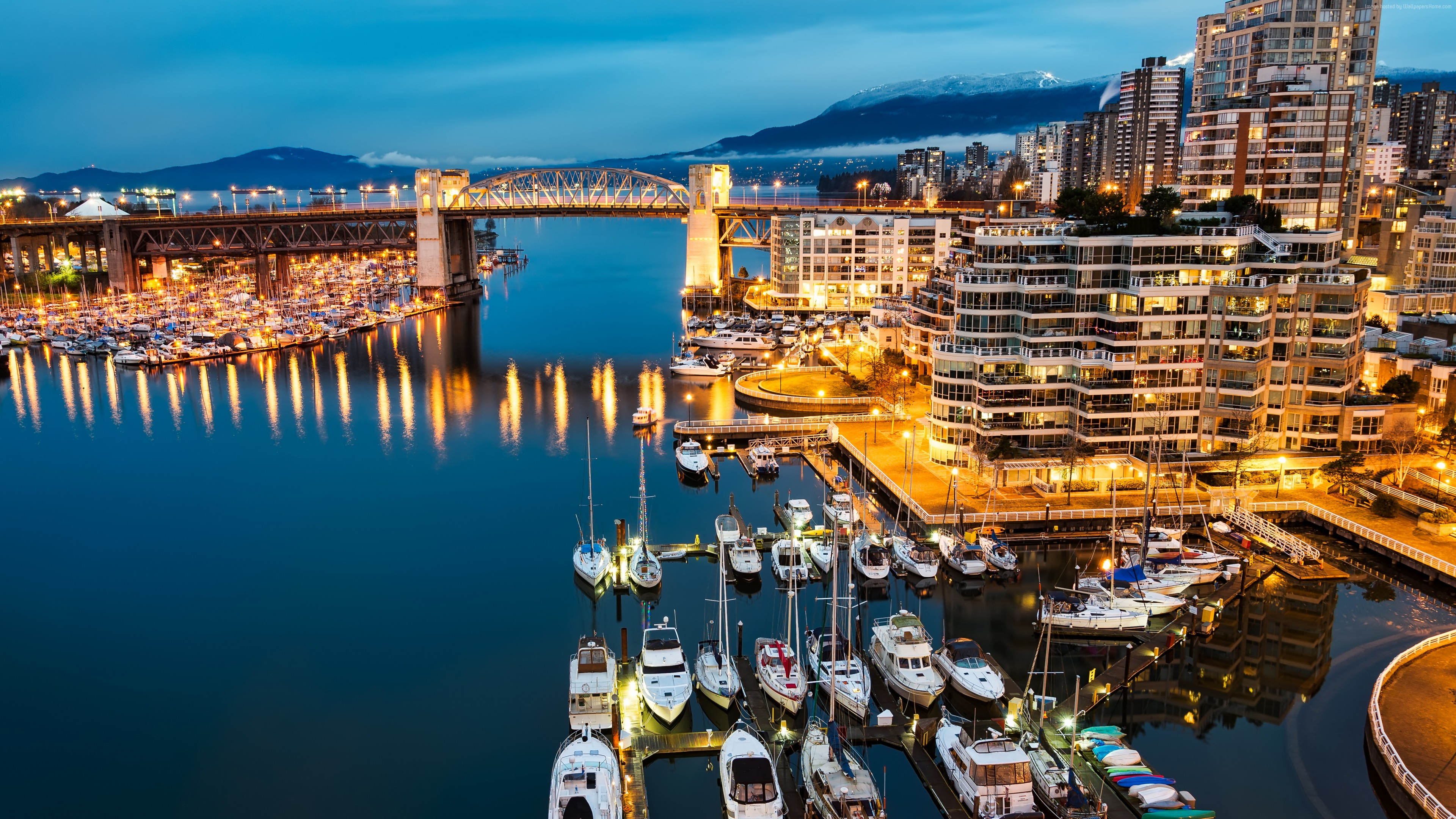 Wallpaper Vancouver, Granville, Island, Canada, night, Morning, lights, boats, blue, water, sea, travel, Architecture