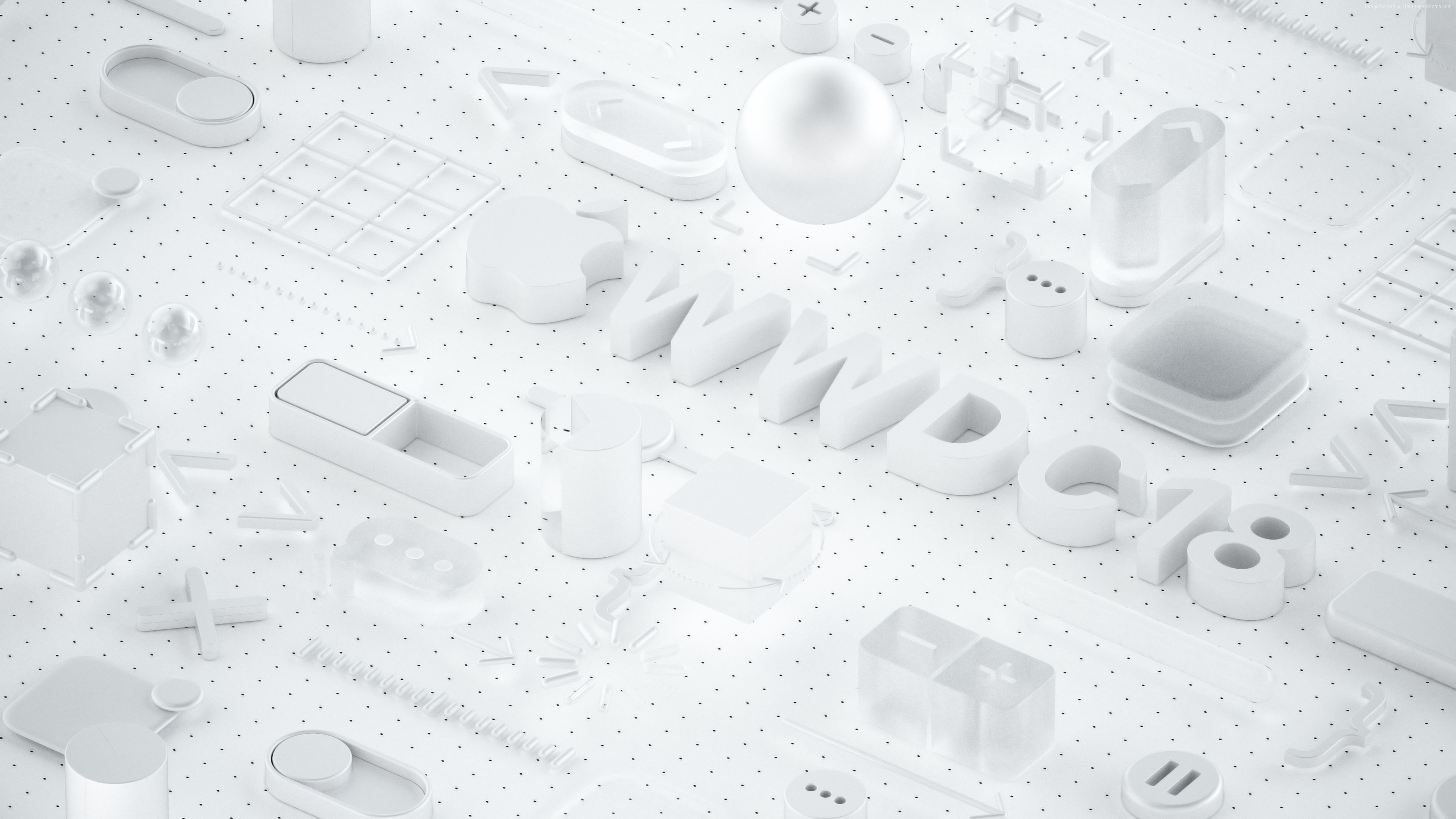 Wallpaper WWDC 2018, White, 3D, 4K, Hi-Tech