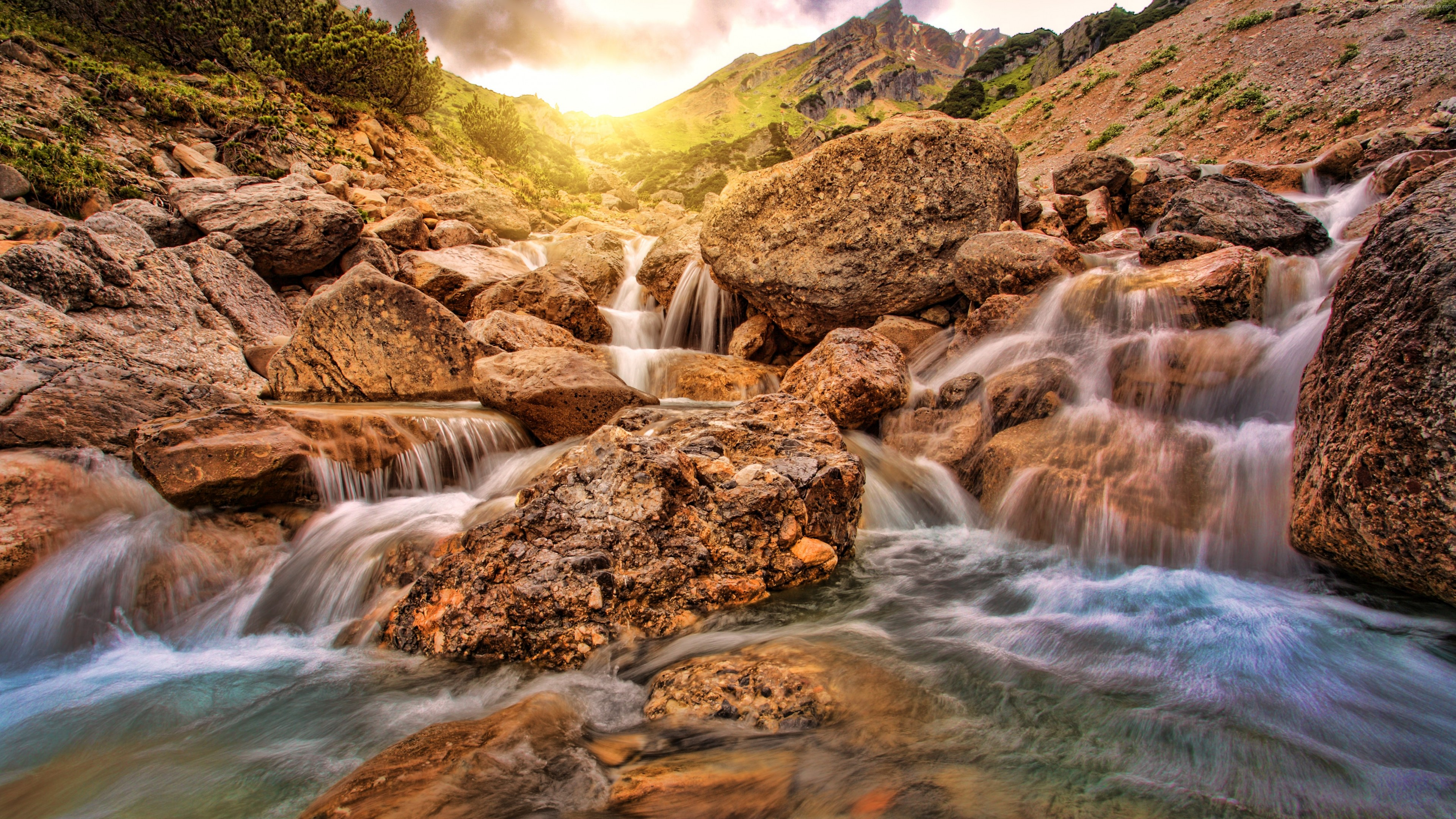 Wallpaper Waterfall Alpine 4k Nature Wallpaper Download High Resolution 4k Wallpaper