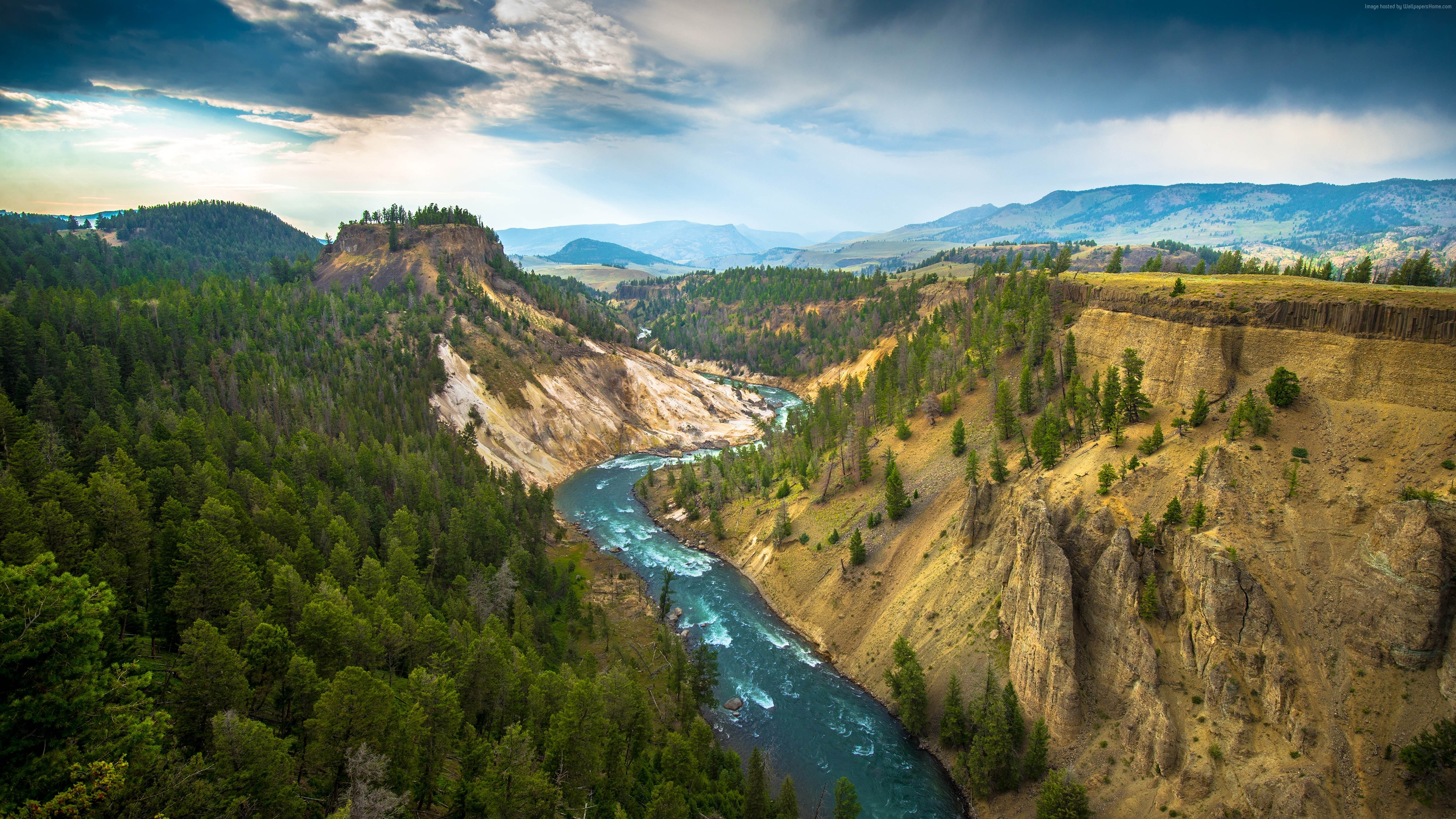 Wallpaper Yellowstone Landscape, 4k, 5k wallpaper, USA, river, travel, tourism, Travel