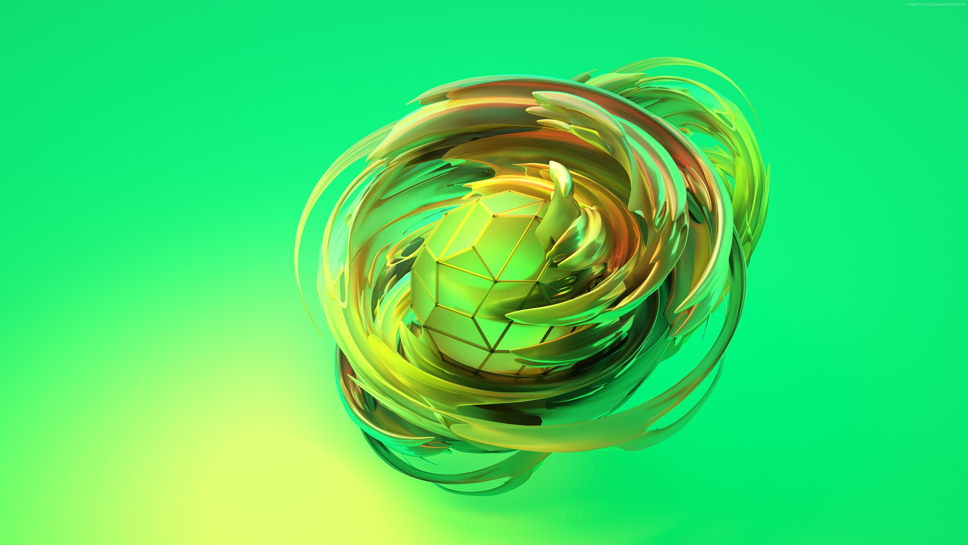 Wallpaper Apple Dreams 3d Sphere Green Hd Abstract