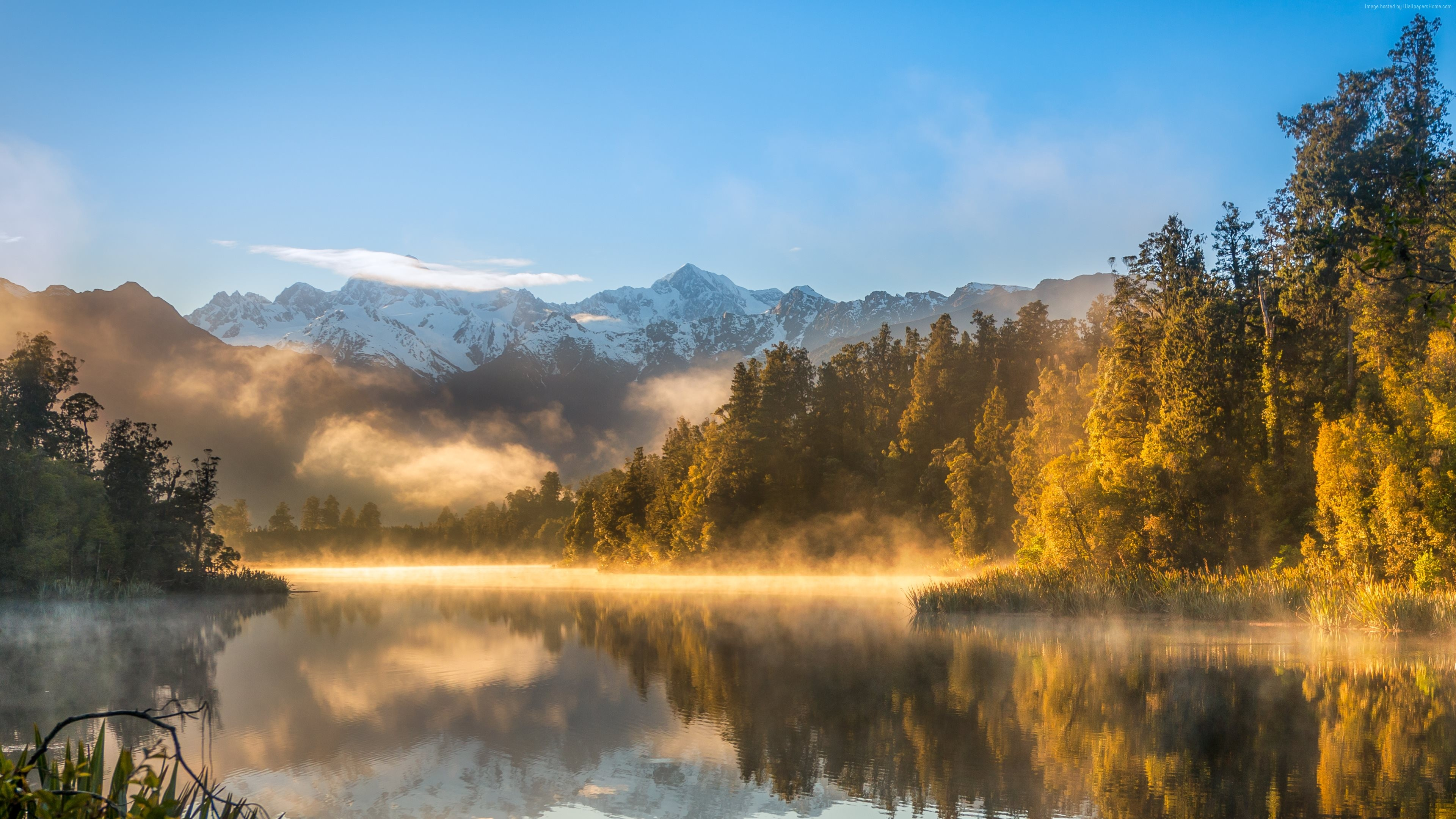 Wallpaper autumn, fog, forest, lake, mountains, 4k, Nature