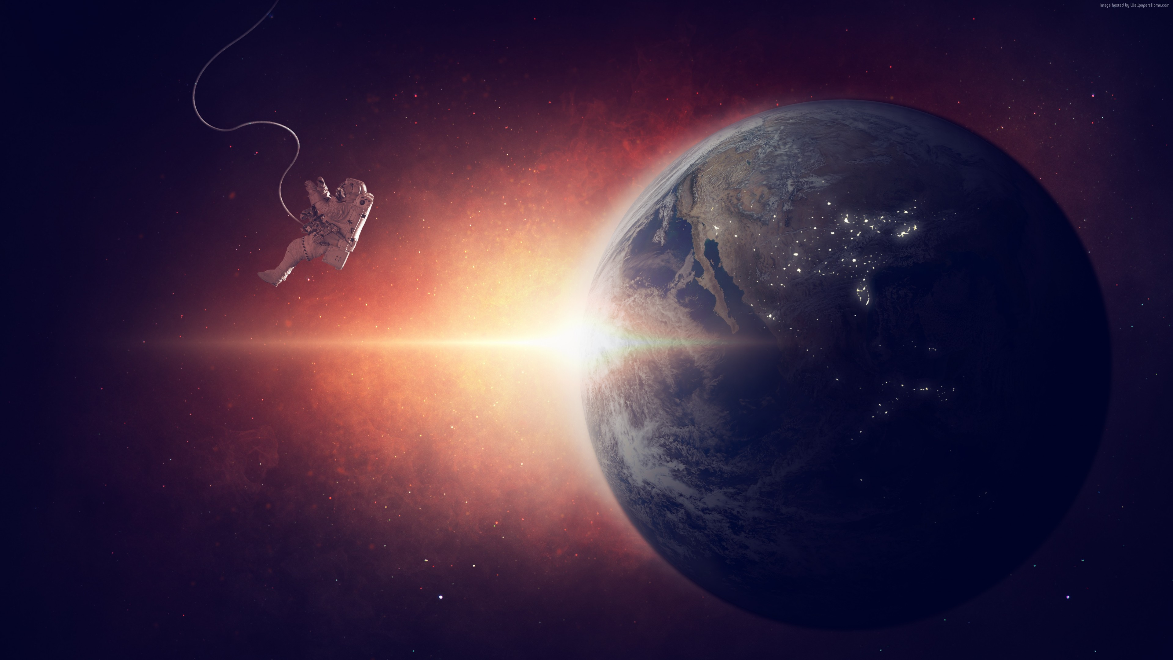 Wallpaper earth, planet, space, galaxy, astronaut, 5k, Space