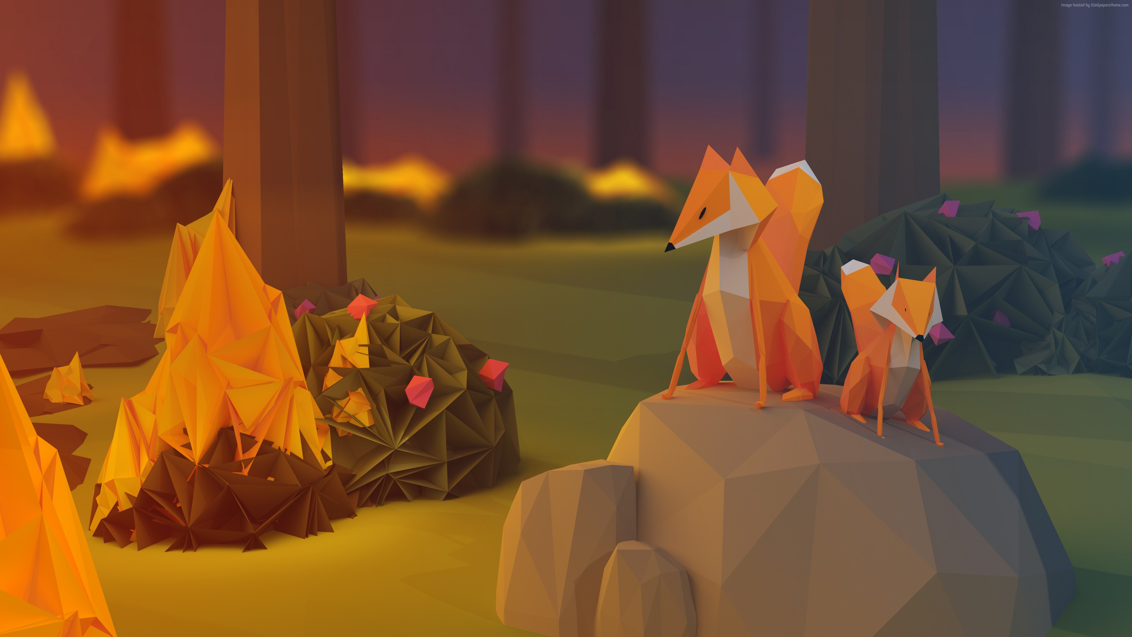 Wallpaper fox, low poly, 3d, forest, Abstract