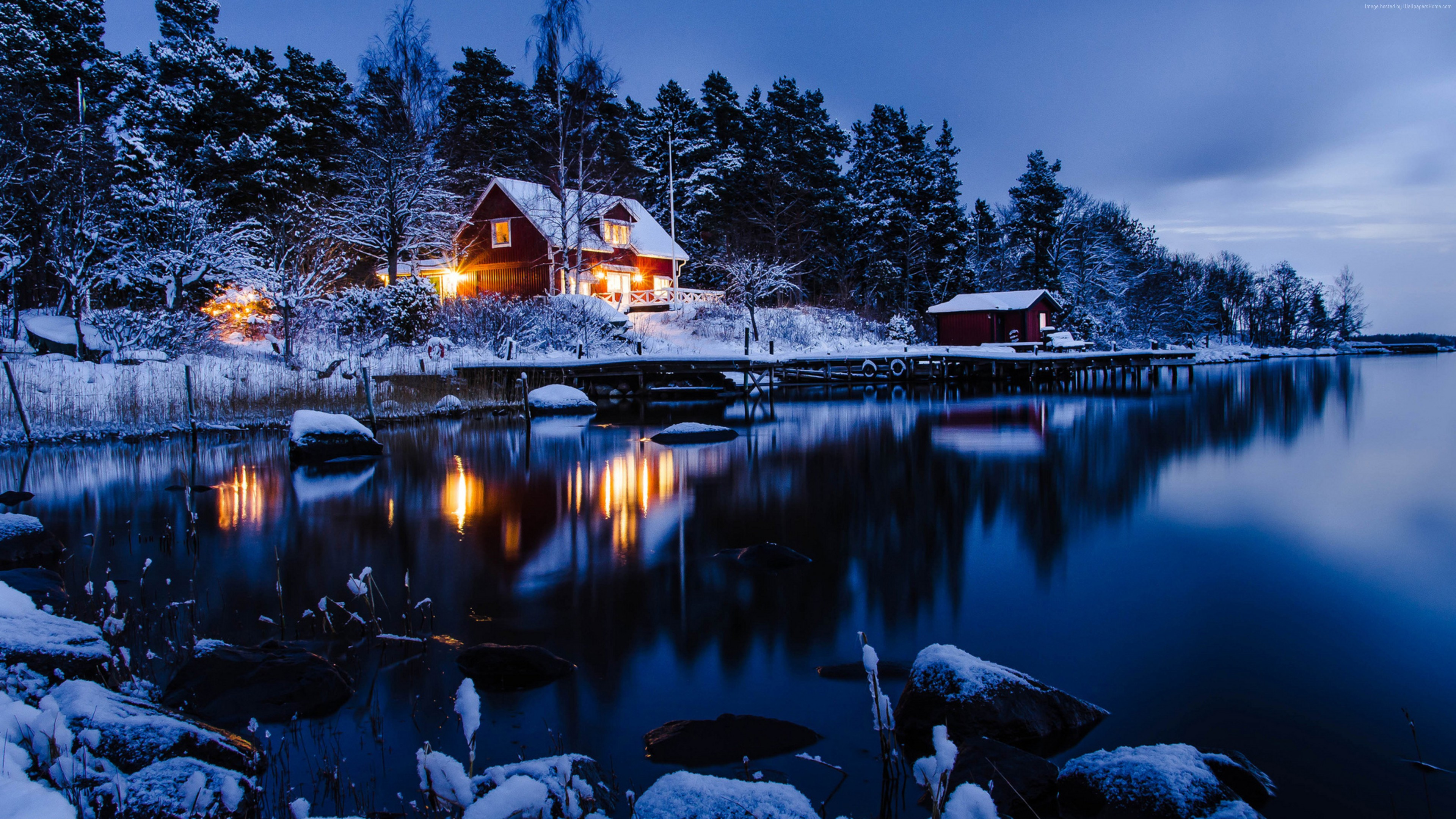 Wallpaper house, lake, trees, winter, 5k, Nature