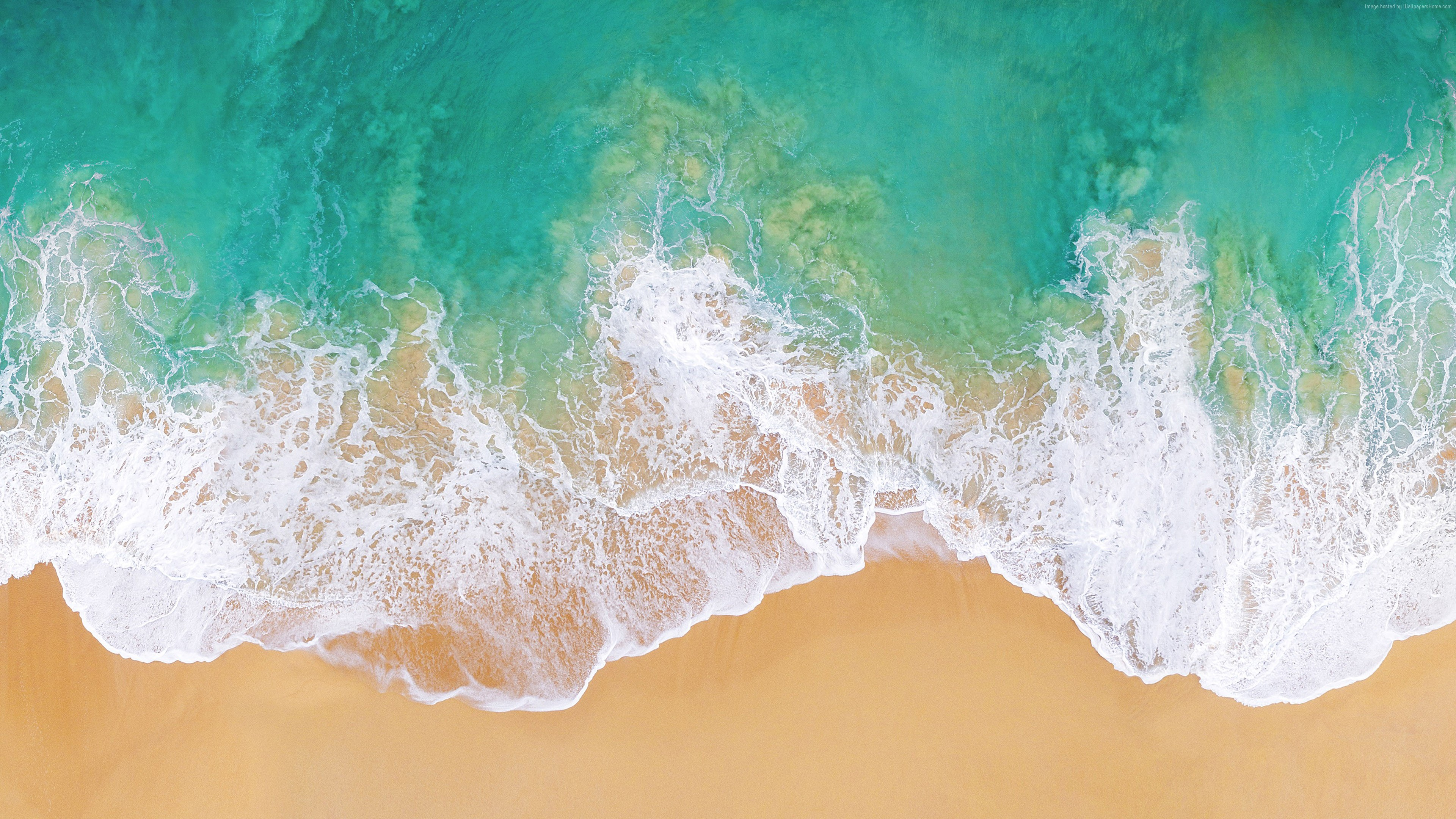 Wallpaper iOS 11, 4k, 5k, beach, ocean, Abstract
