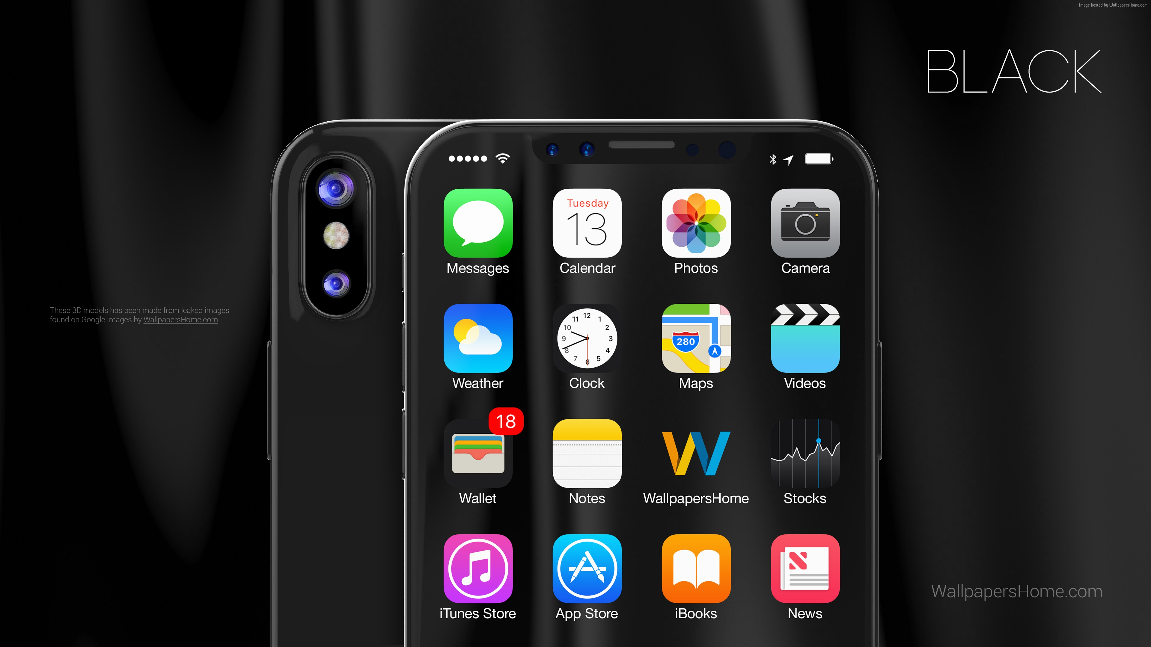 Wallpaper IPhone X Black 3D Leaked WWDC 2017 4k Hi