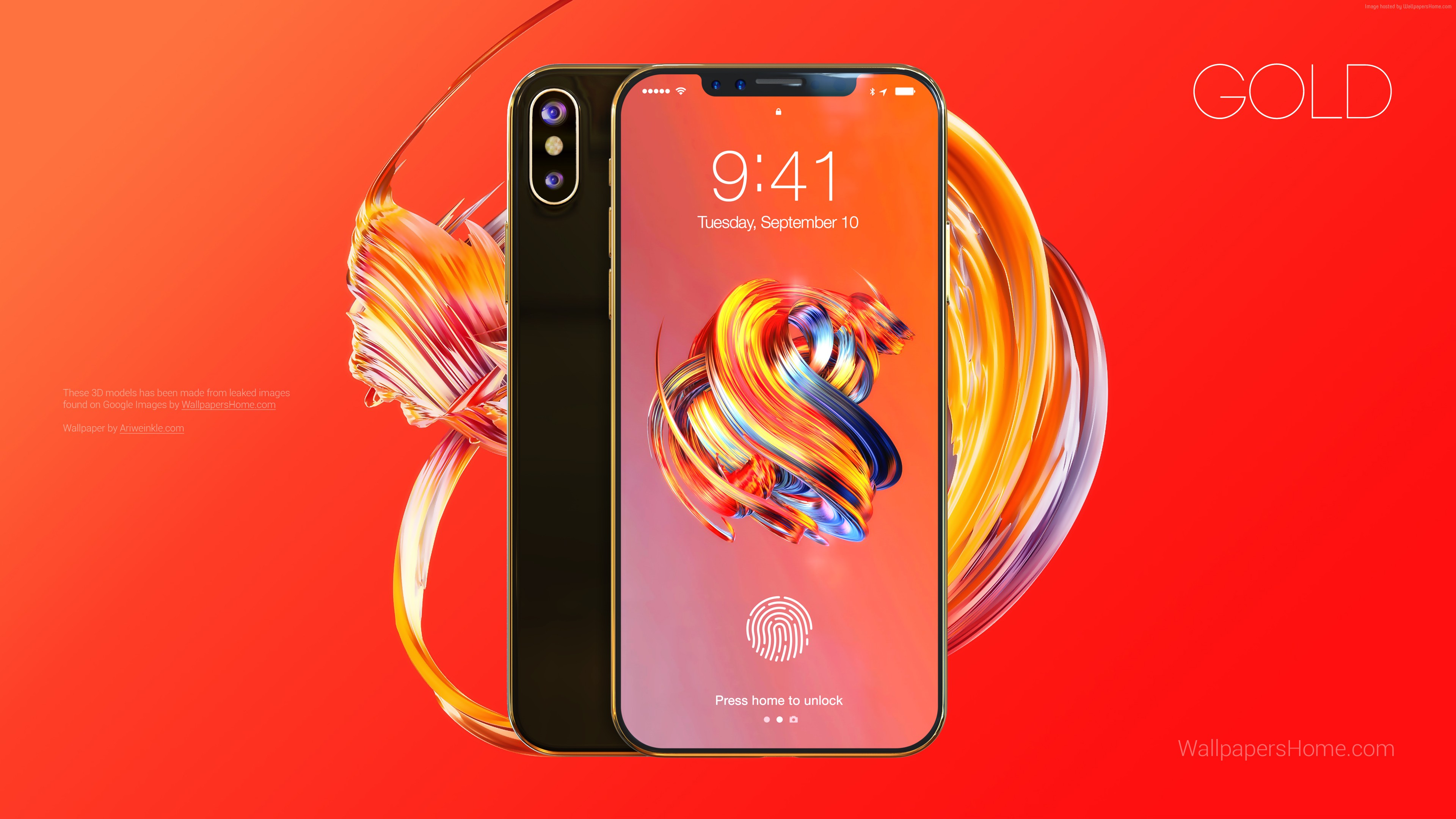 Wallpaper iPhone X, gold, 3D, leaked, WWDC 2017, 4k, Hi-Tech