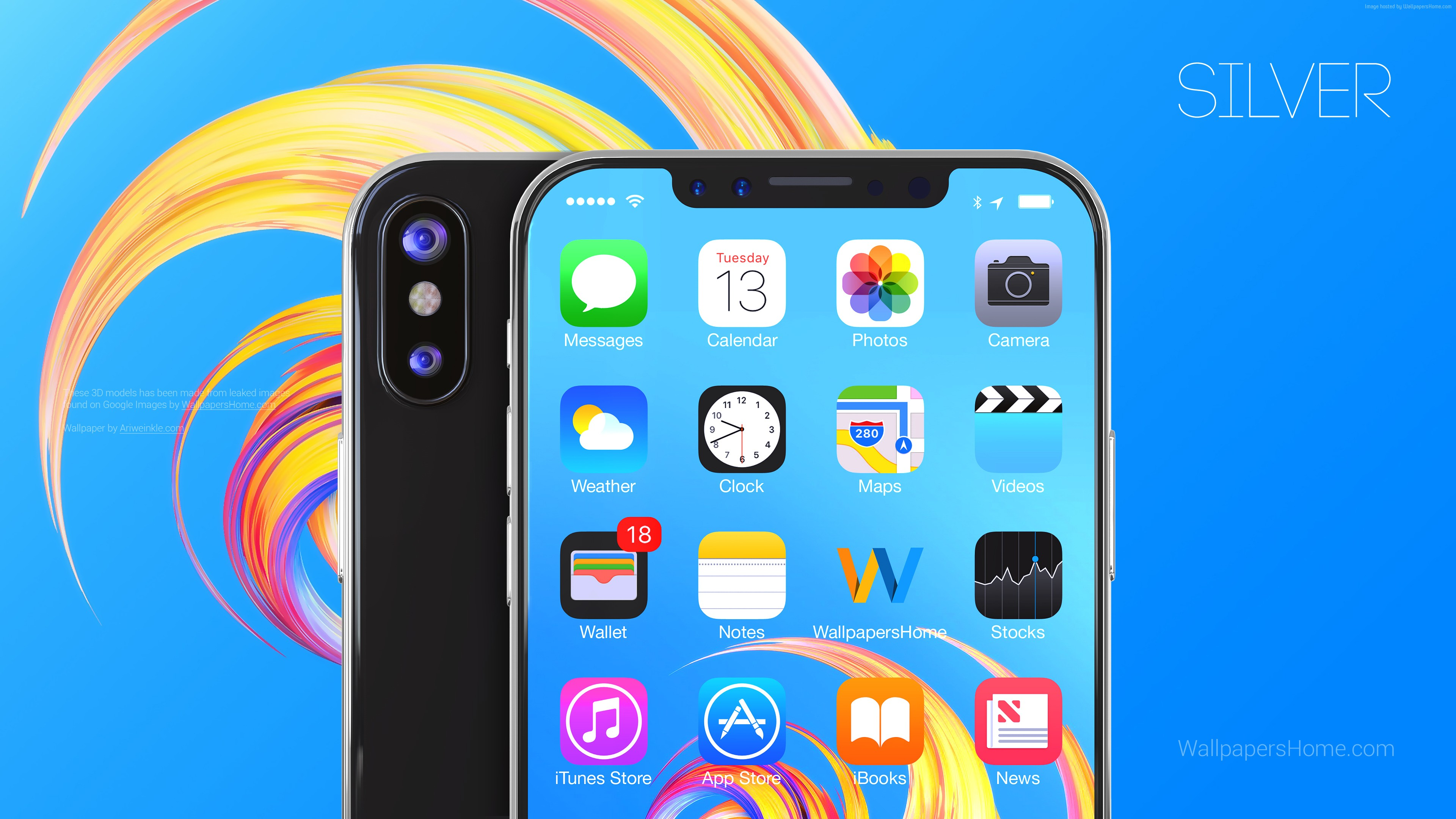 Wallpaper IPhone X, Silver, 3D, Leaked, WWDC 2017, 4k, Hi