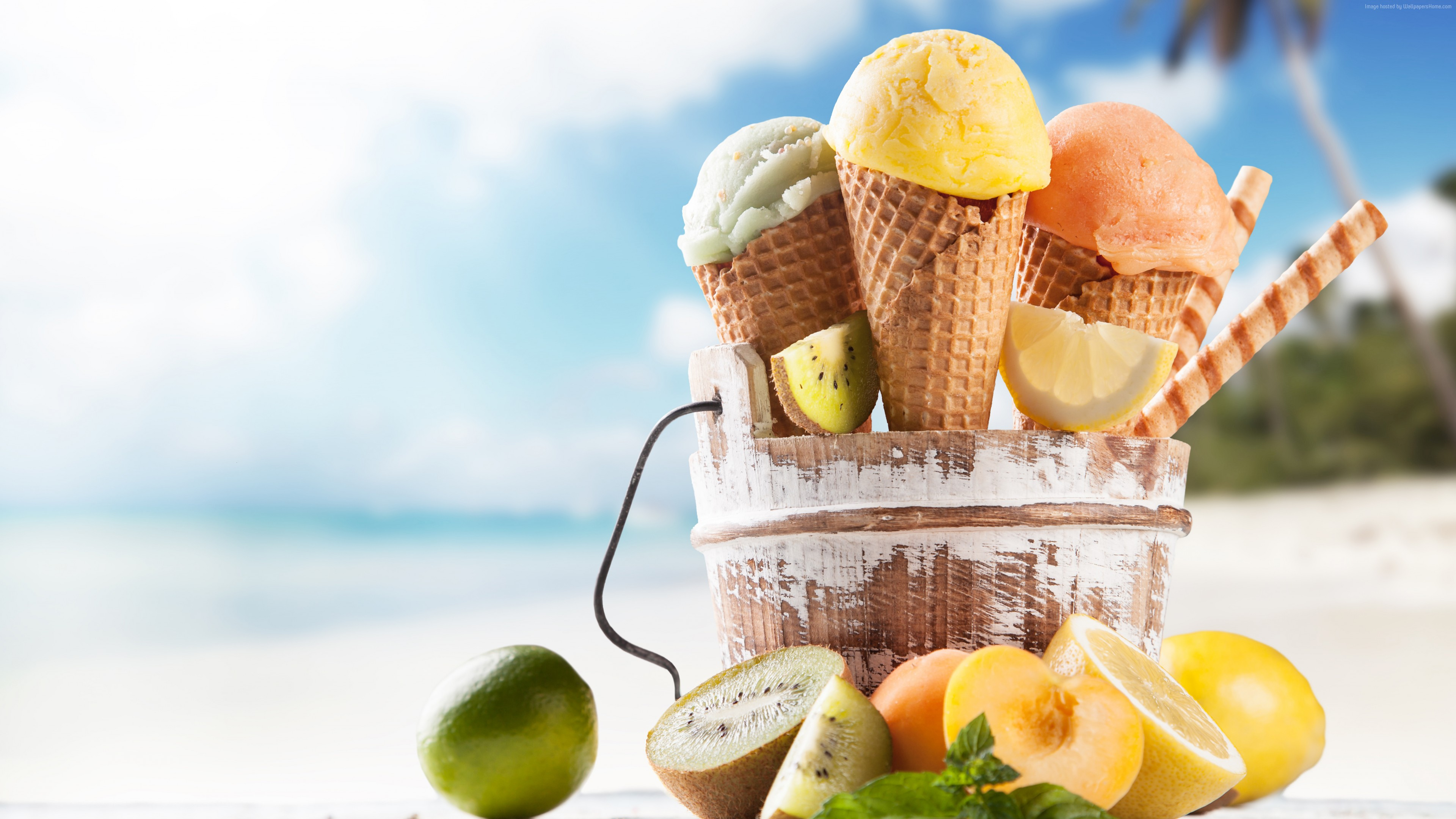 Wallpaper ice cream, beach, lemon, apricot, lime, delicious, 8k, Food