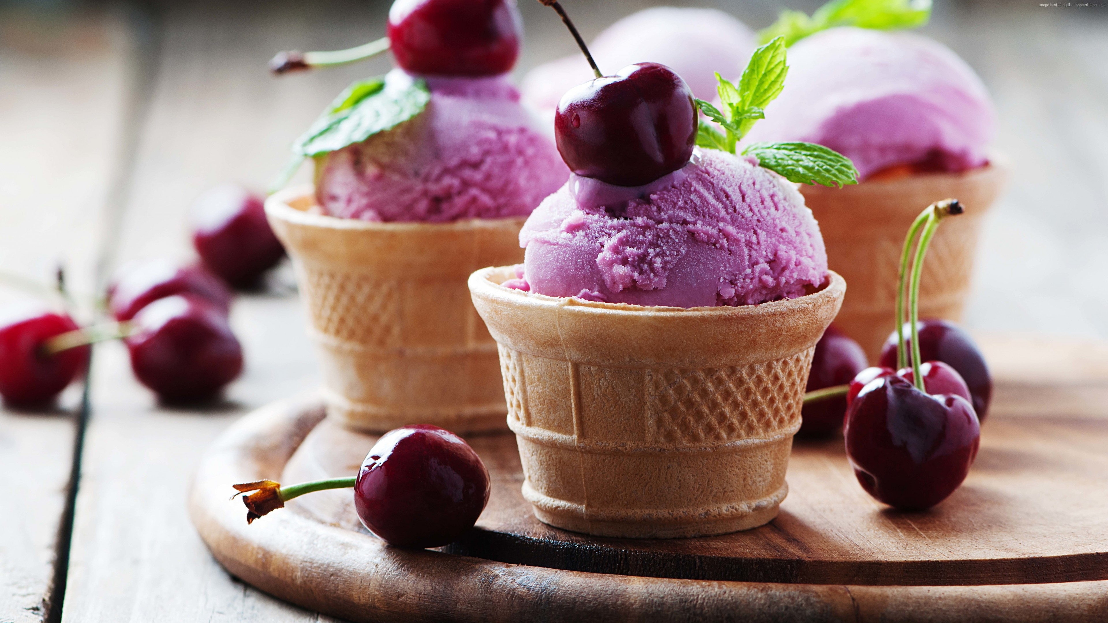 Wallpaper ice cream, cherries, delicious, 4k, Food