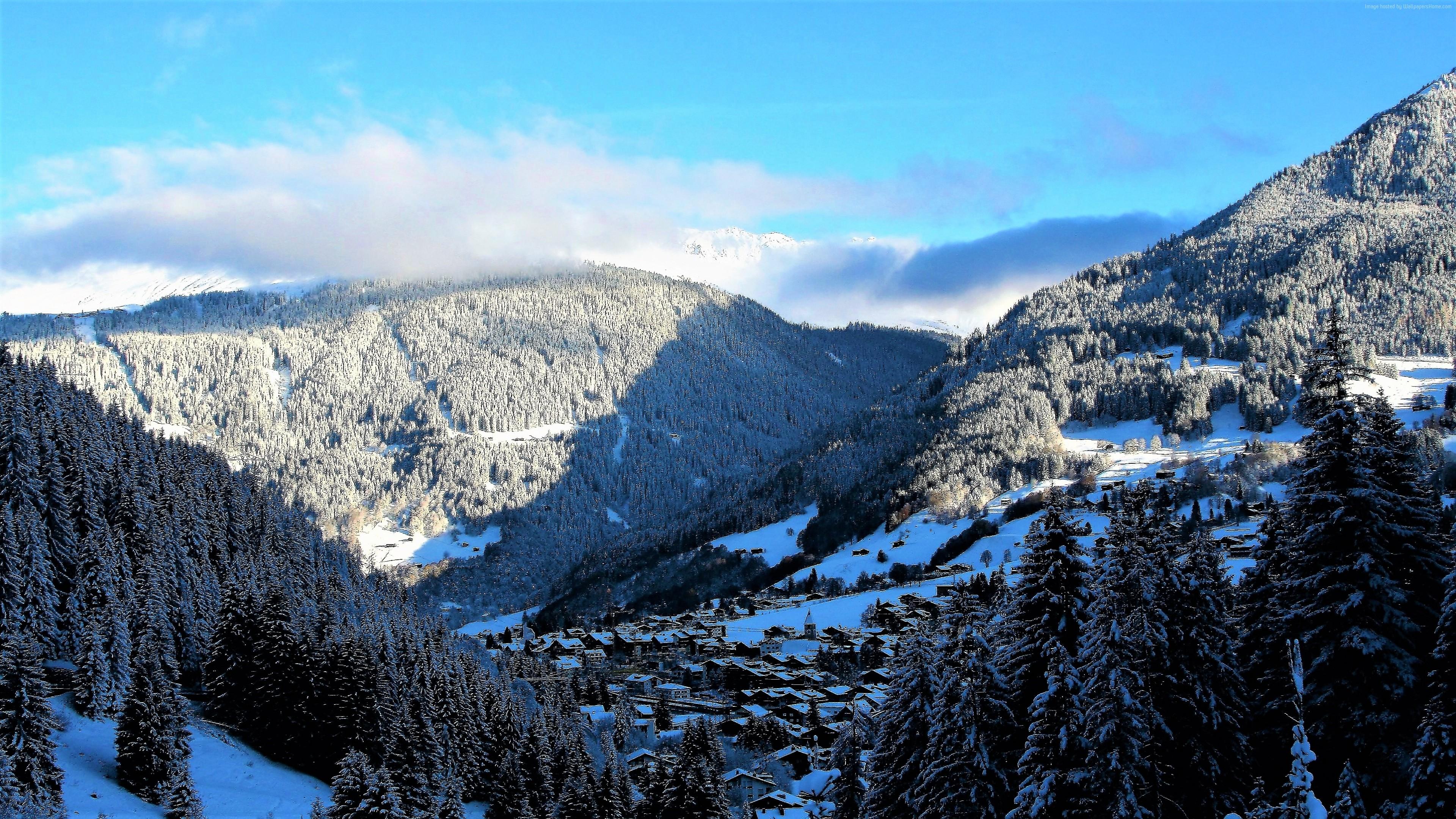 Wallpaper Mountains Snow Winter Forest 4k Nature Wallpaper Download High Resolution 4k Wallpaper