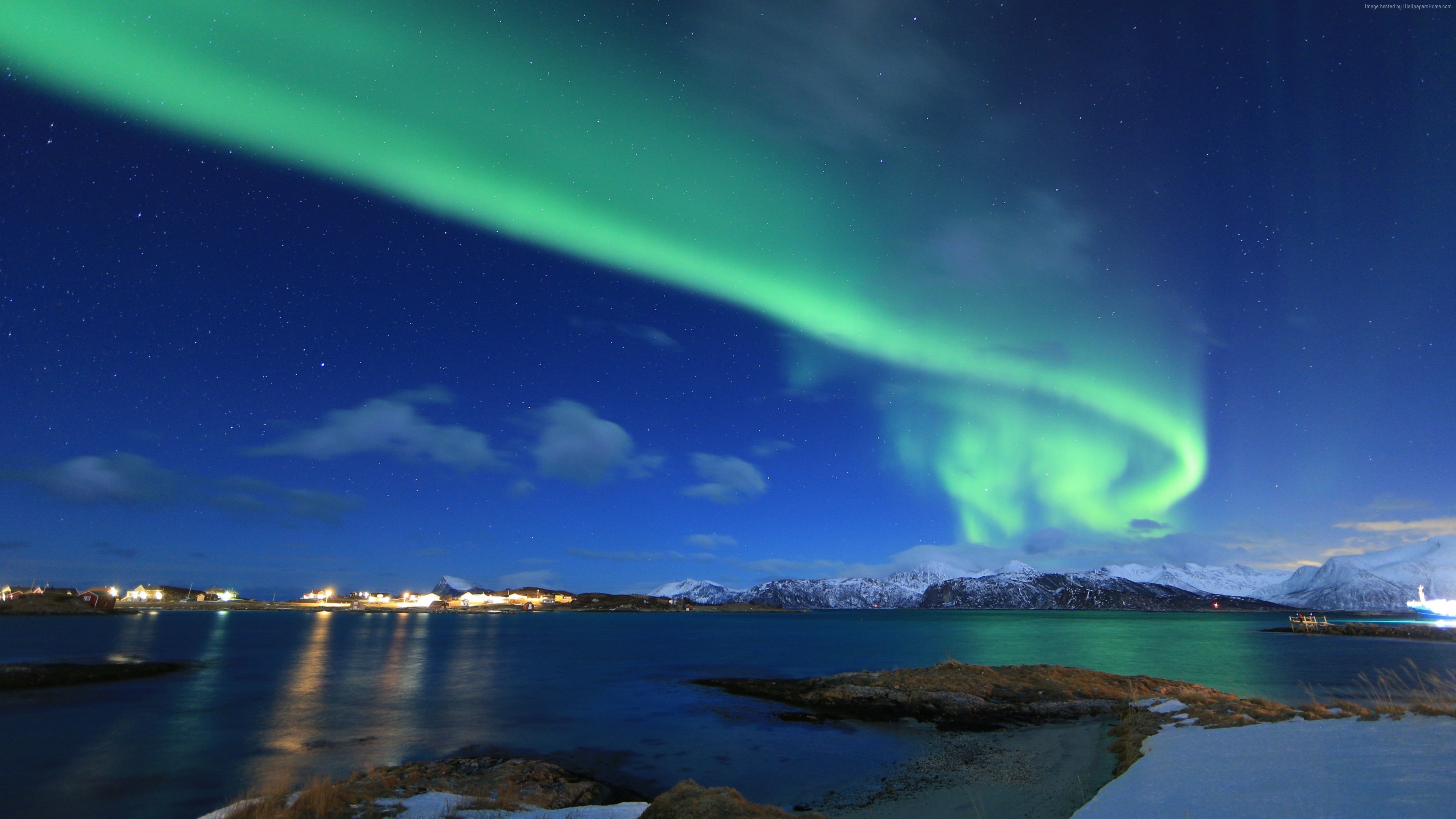 Wallpaper Northern Lights Norway Lake Winter 5k Nature Download