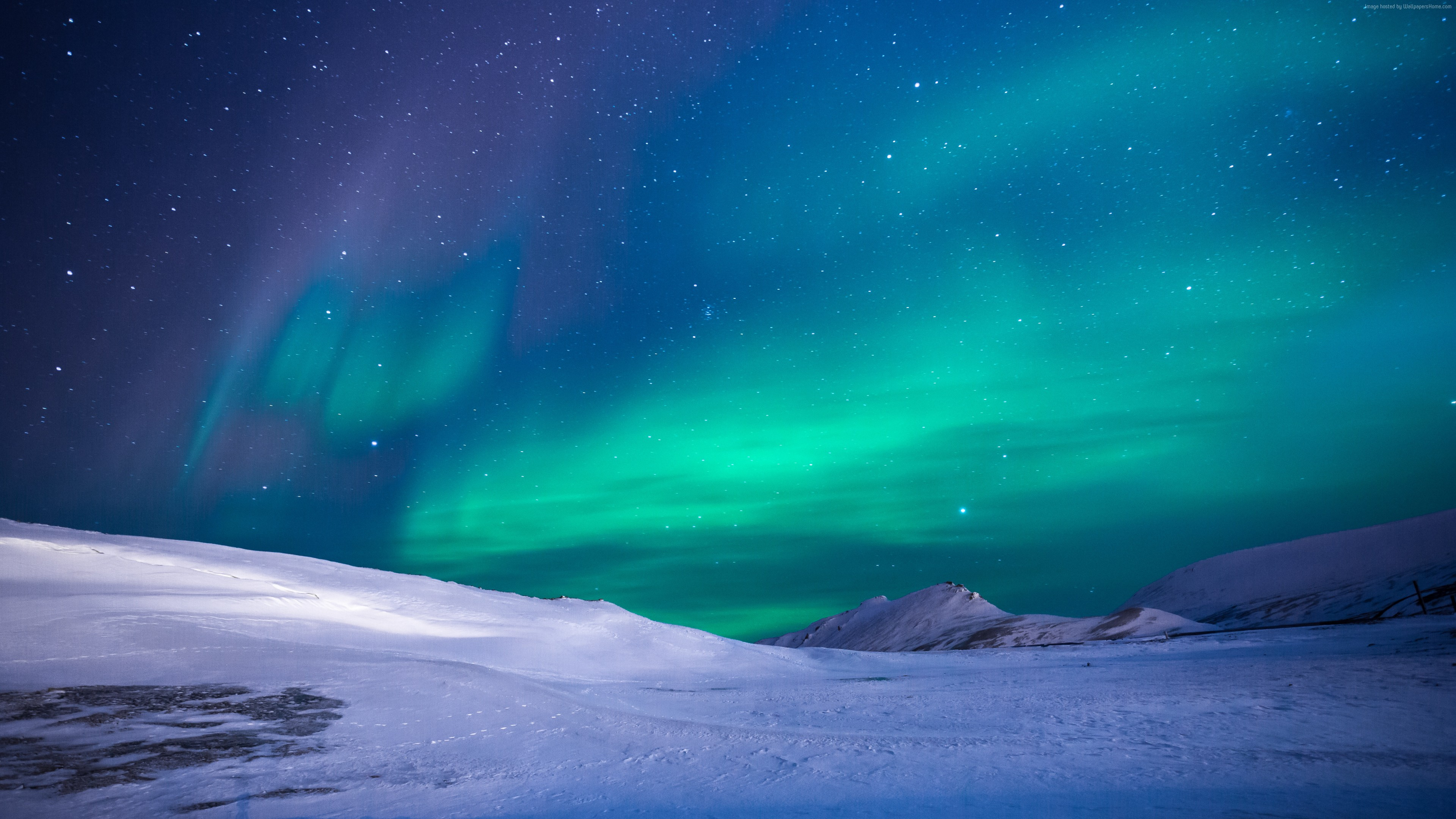 Wallpaper northern lights, sky, winter, mountains, 5k, Nature