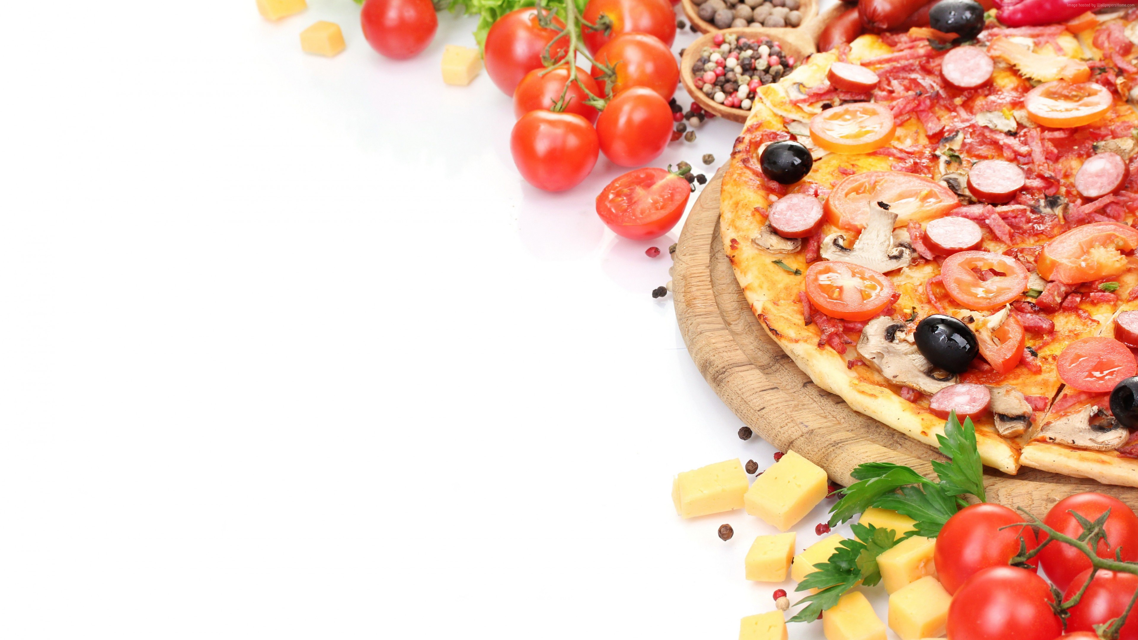 Wallpaper pizza, tomato, 5k, Food