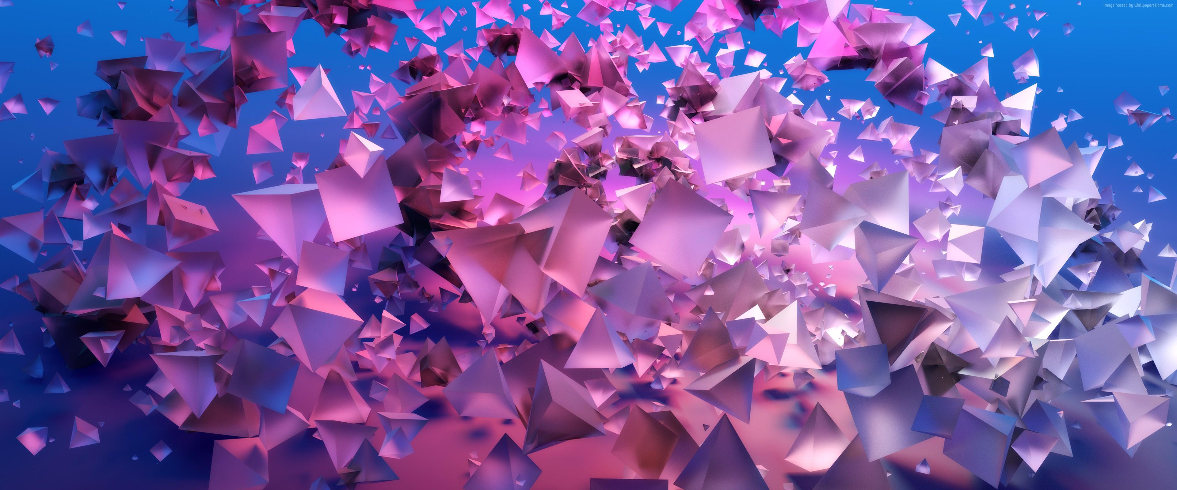 Wallpaper Pyramids 3d Violet Blue 4k Abstract Wallpaper